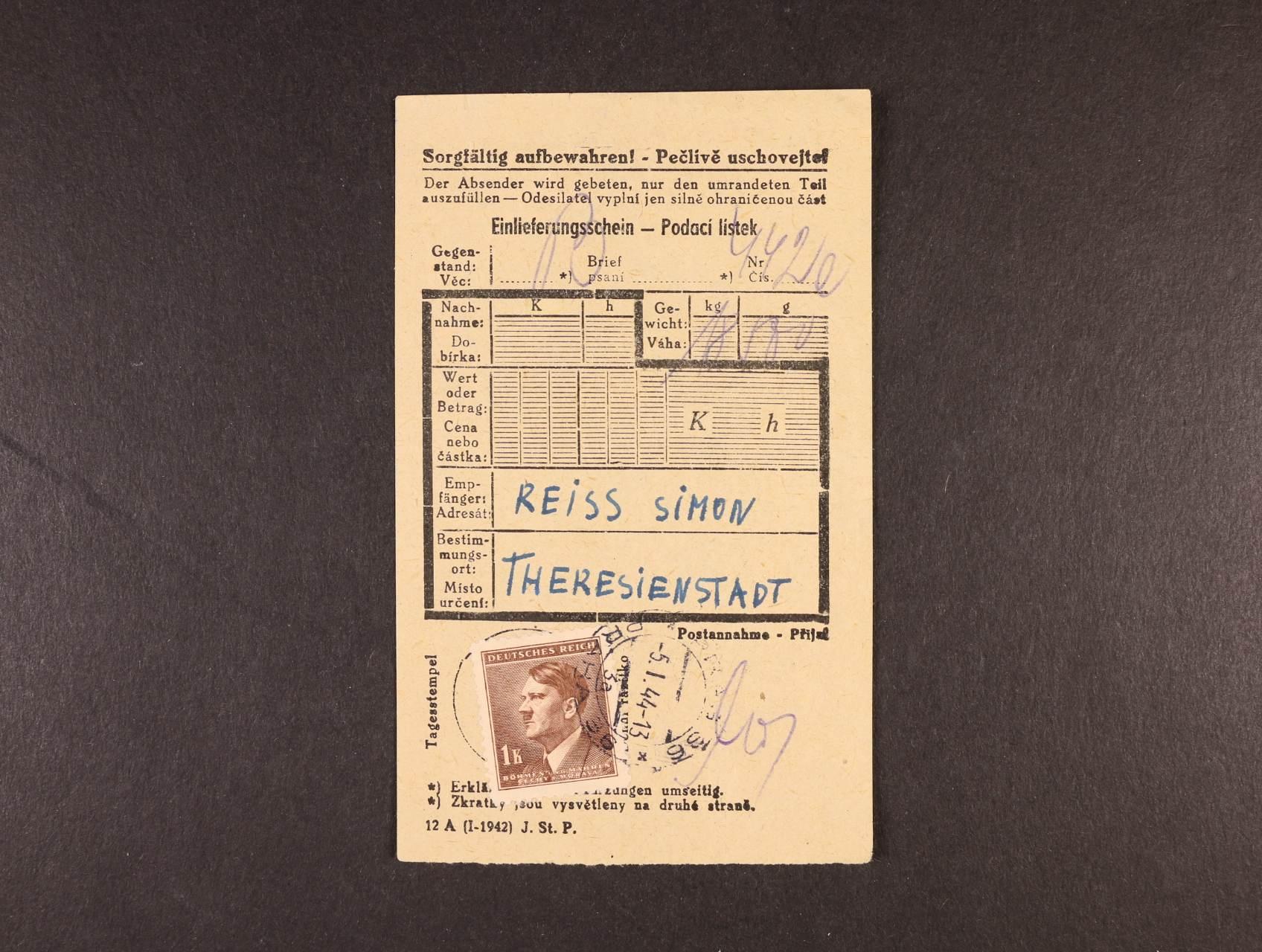 Theresienstadt - frankovaný pod. lístek na dopis do KT