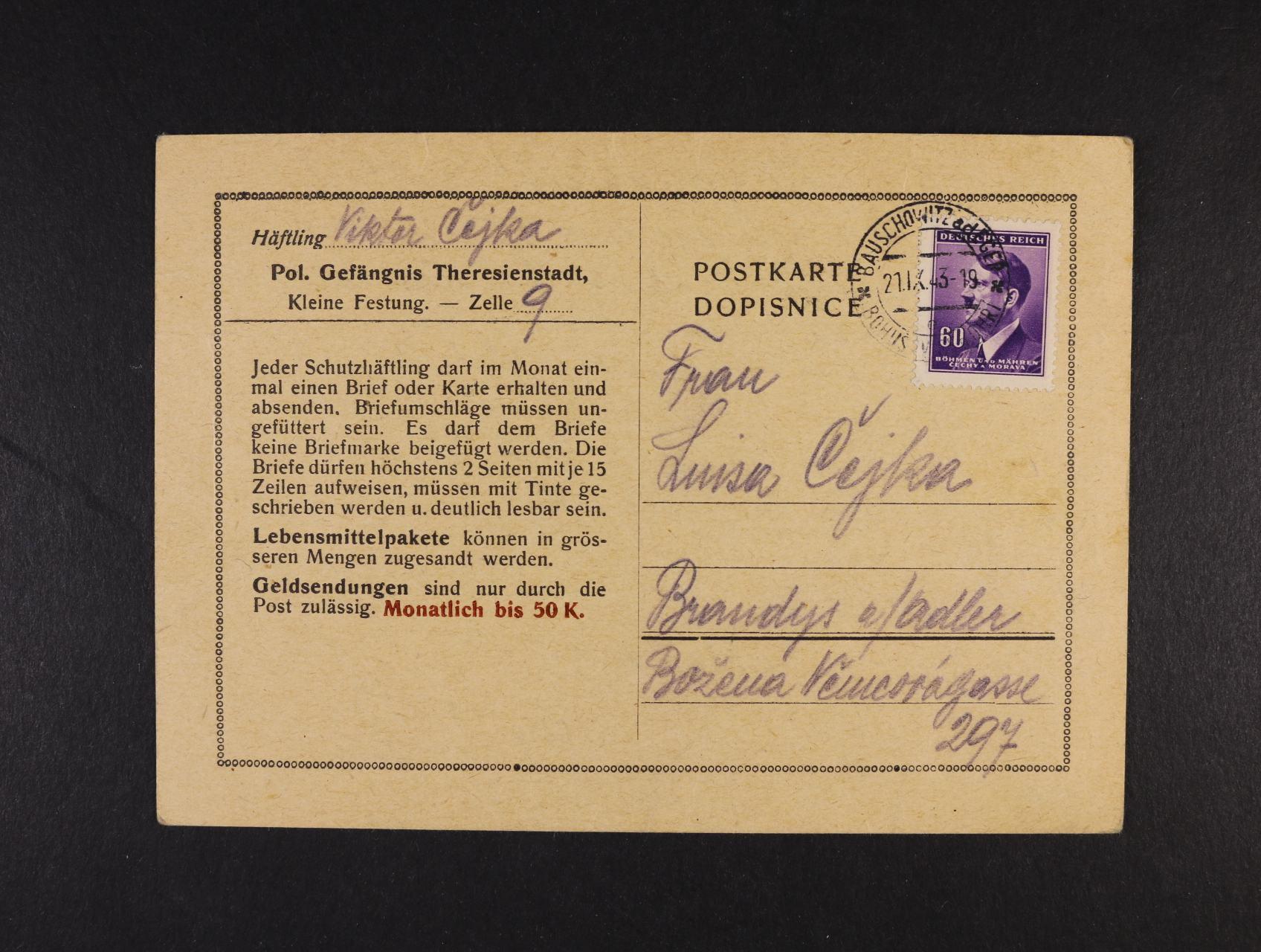 Theresienstadt - oficielní předtištěný KL pro KT frank. zn. A.H. 60h, pod. raz. BOHUŠOVICE 21.9.43