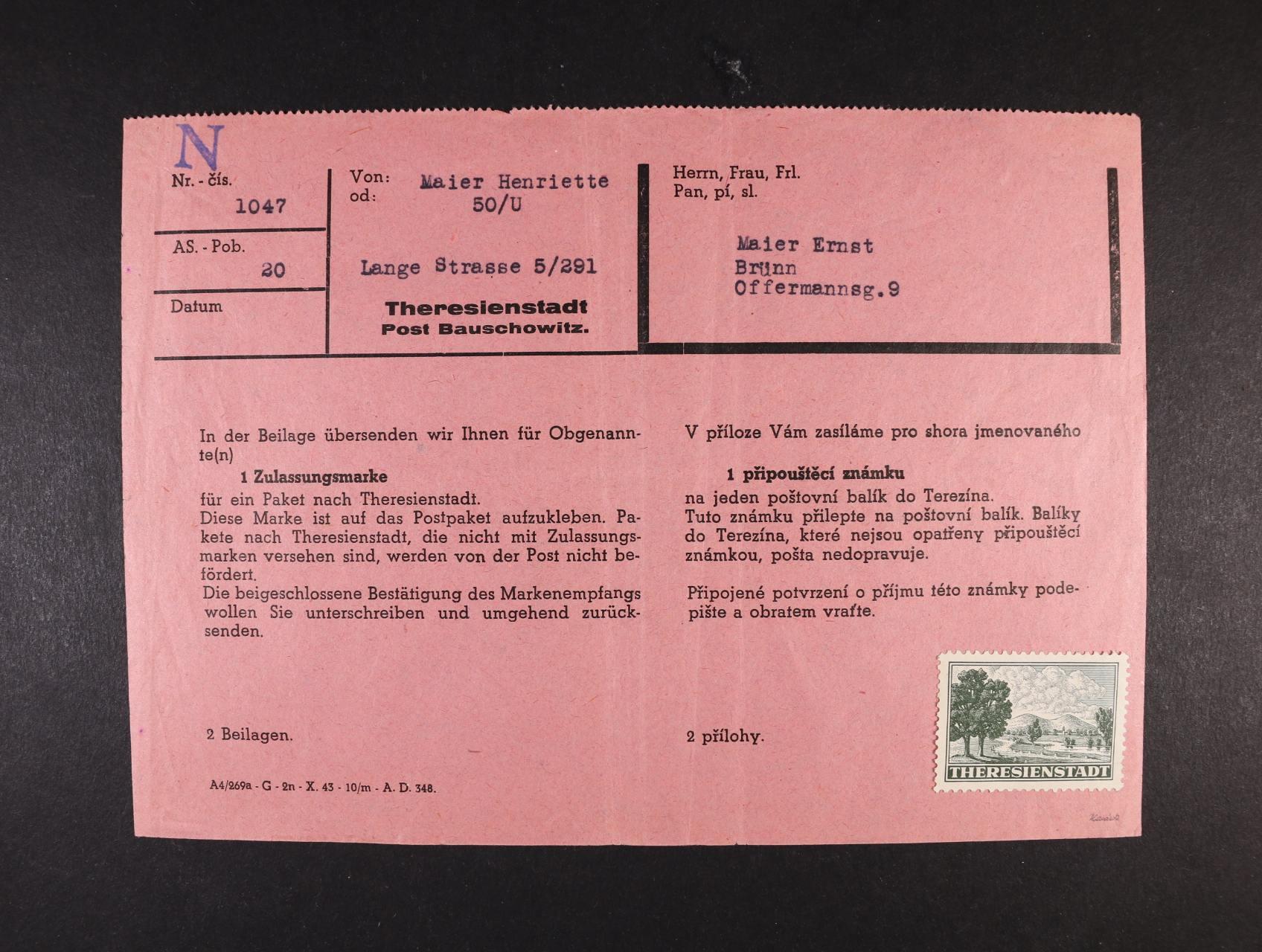 Theresienstadt - připouštěcí formulář s částečně přilepenou zn. PR 1, zk. Karásek