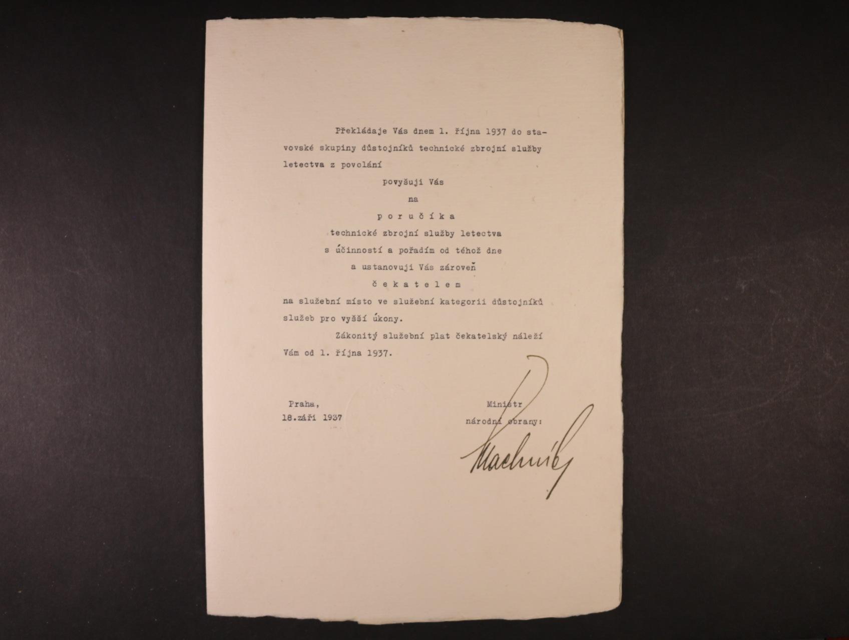 Machník František 1886 - 1967, význačný český politik, poslanec nár. shromáždění, ministr nár. obrany - povyšovací dekret s vlastnoručním podpisem a datací 18.9.1937