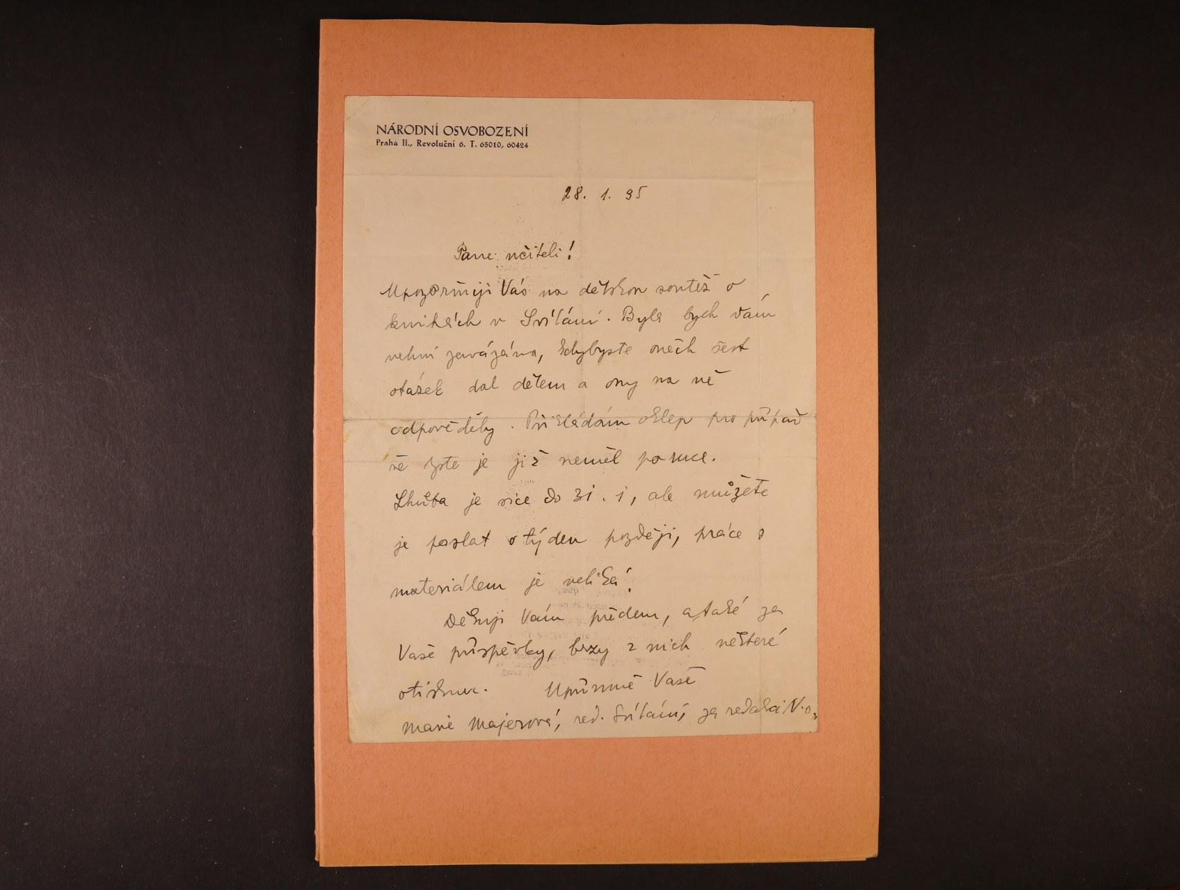 Majerová Marie - 1882 - 1962, význačná česká spisovatelka - vlastnoručně psaný dopis + fotografie s podpisem