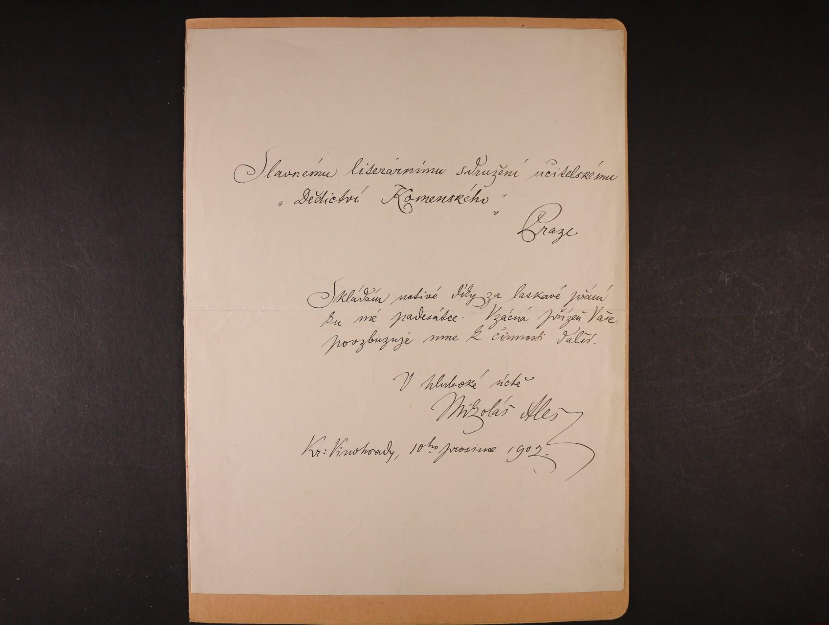 Mikoláš Aleš 1852 - 1913, význačný český malíř - dopis literárnímu sdružení