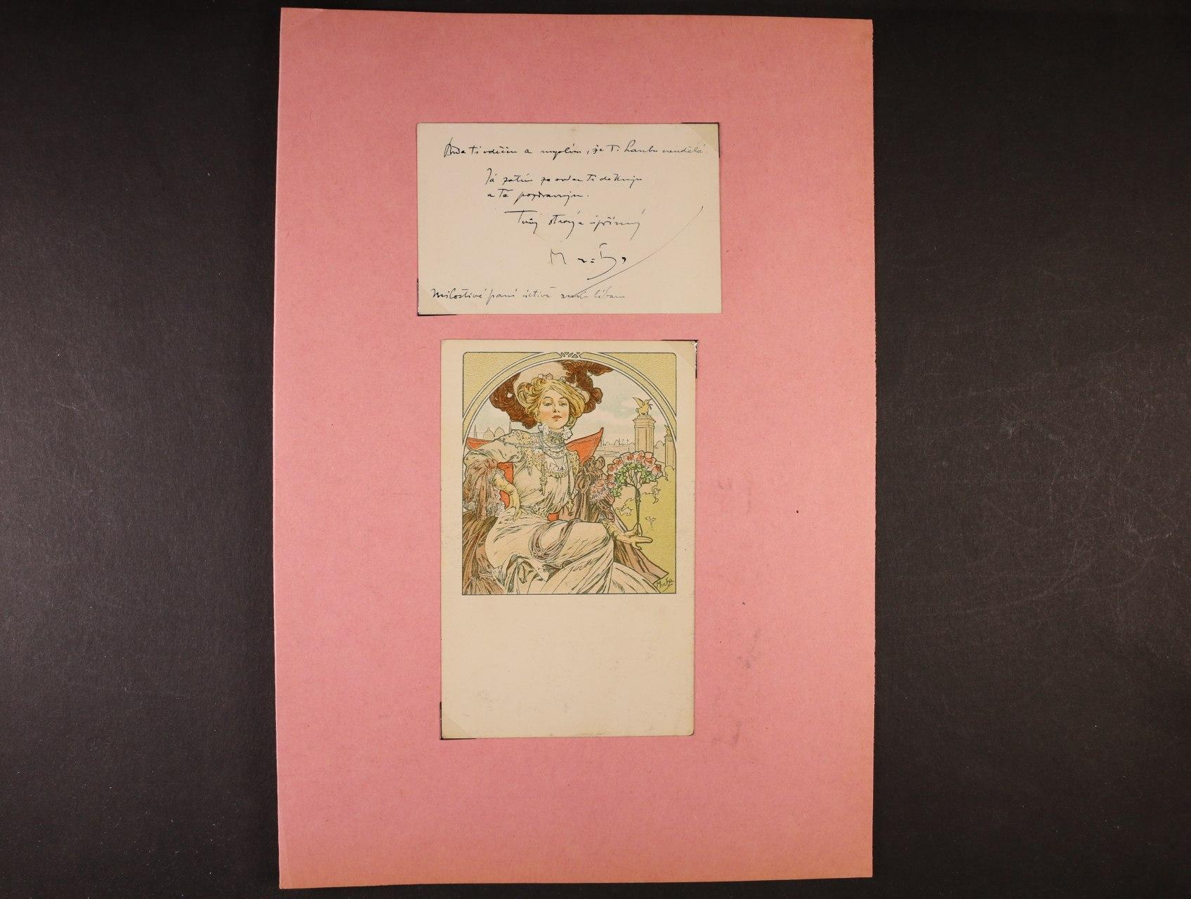 Mucha Alfons 1860 - 1939, význačný český malíř, zakladatel secese - bar. litograf. pohlednice - francouzské vydání a přiložená vizitka spozdravem, přáním a vlastnoručním podpisem
