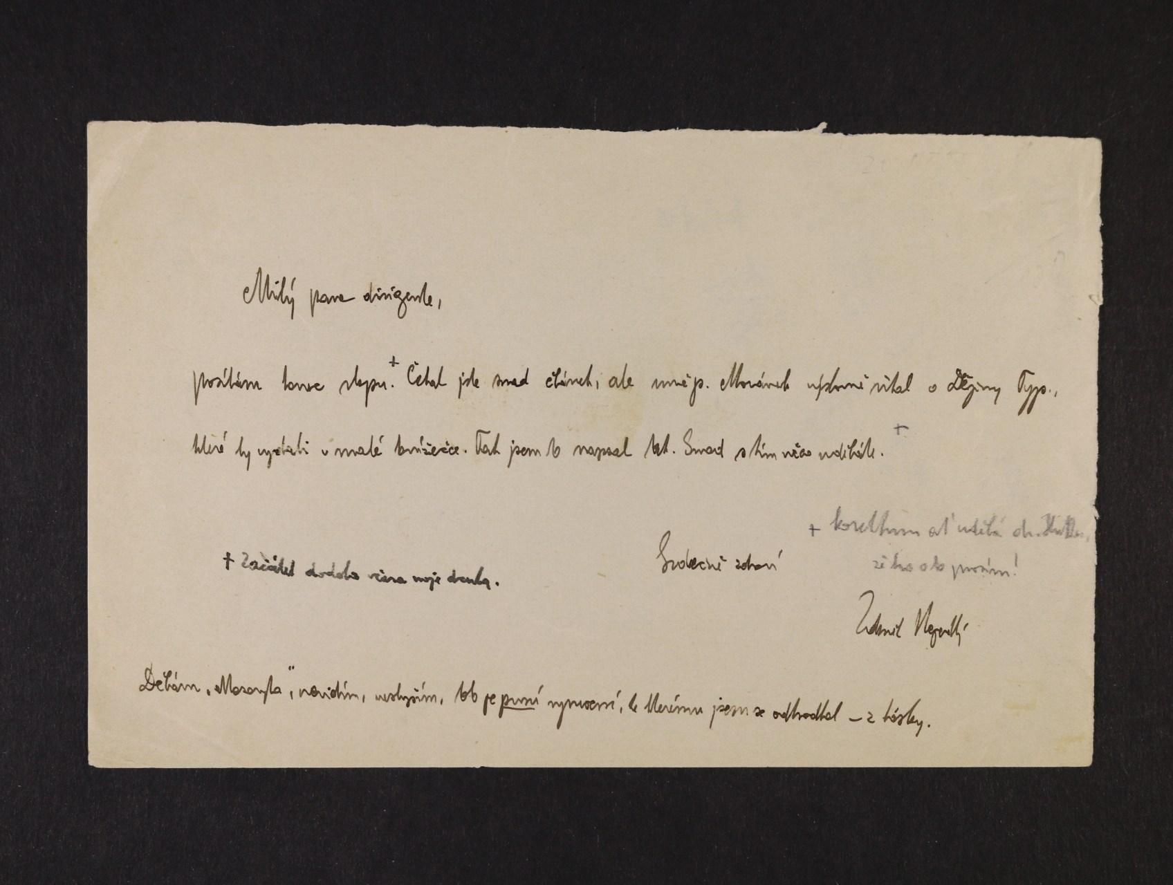 Nejedlý Zdeněk 1878 - 1962, český politik, historik a muzikolog - dopis s vlastnoručním podpisem