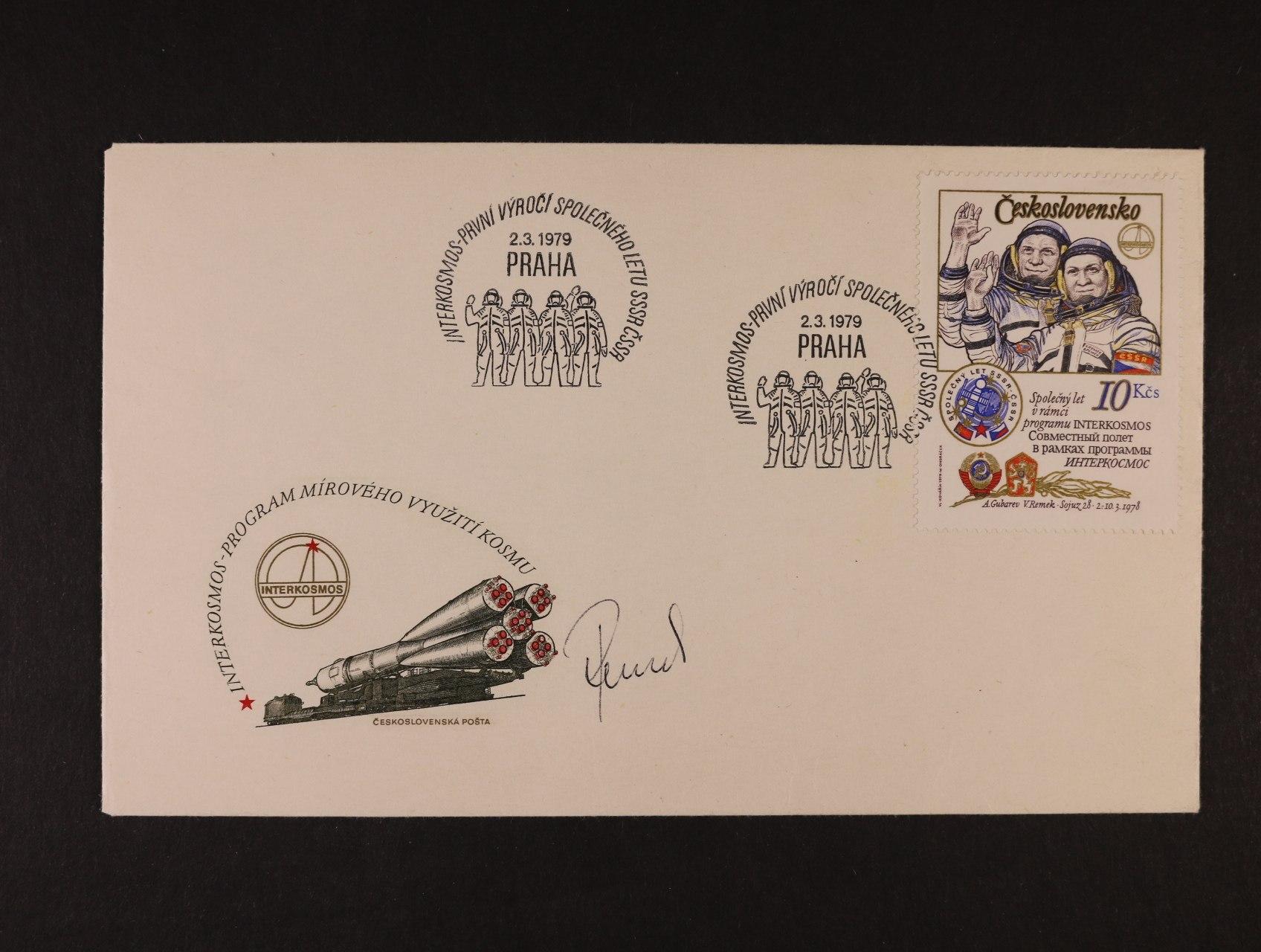 Remek Vladimír -obálka FDC k výr. 1. spol. letu SSSR - ČSSR 2.3.1979 s vlastnoručním podpisem