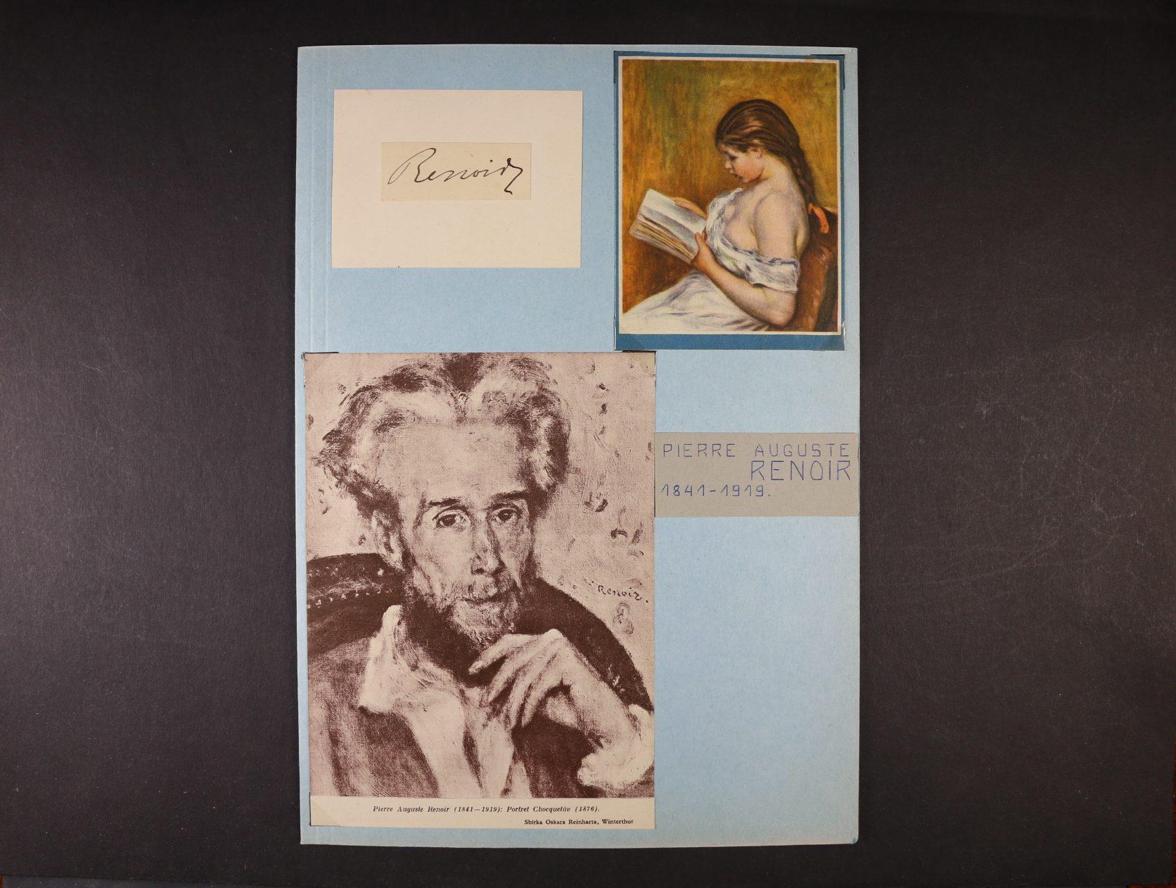 Renoir Piere Auguste 1841 - 1919, slavný franc. malíř - kartička s vlastnoručním podpisem