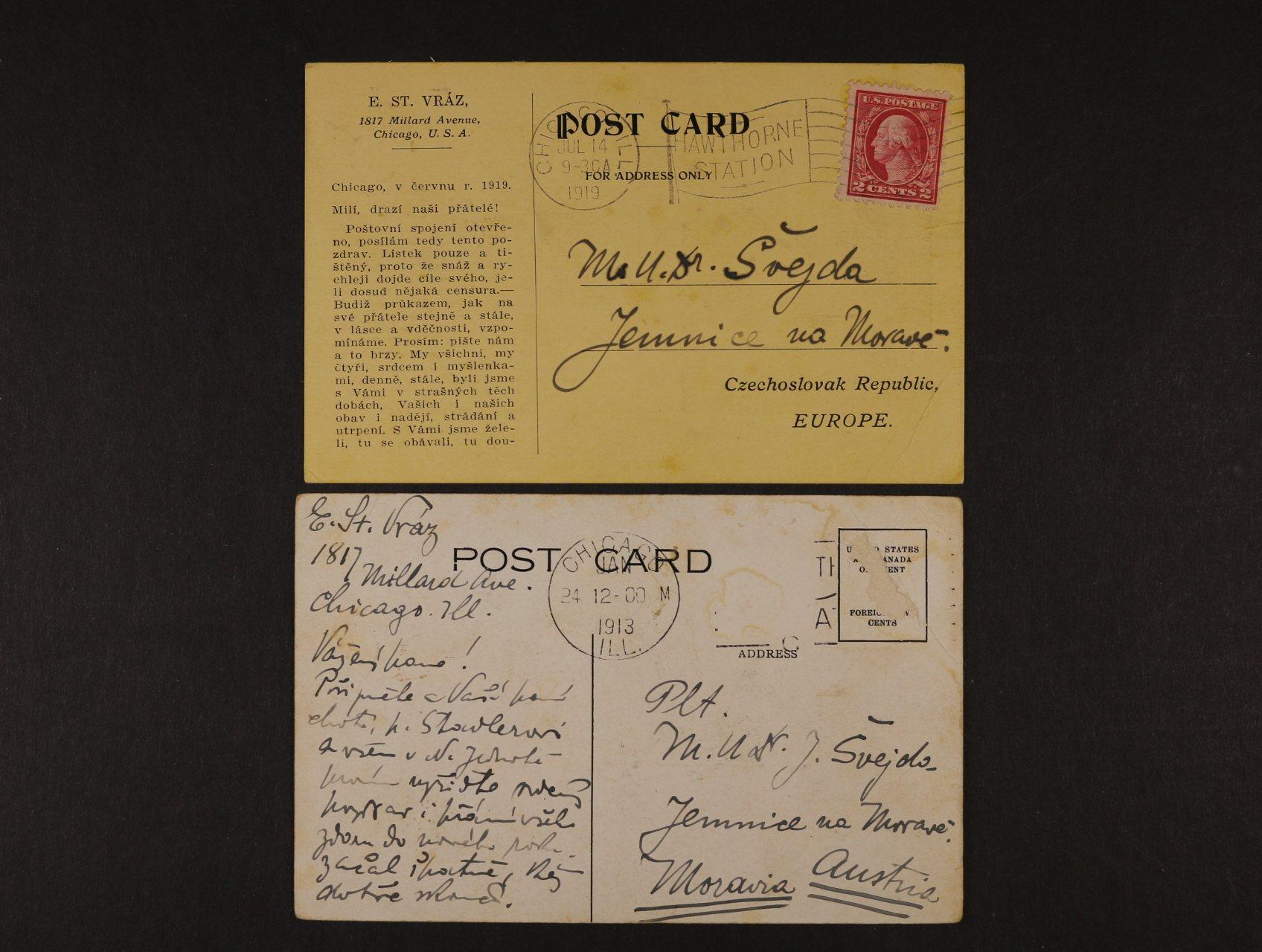Vráz Enrikue Stanko, 1860 - 1932 - význačný český cestovatel a fotograf - dvě pohlednice s vlastnoručním textem a podpisem z USA na Moravu v r. 1913 a 1919, zajímavé