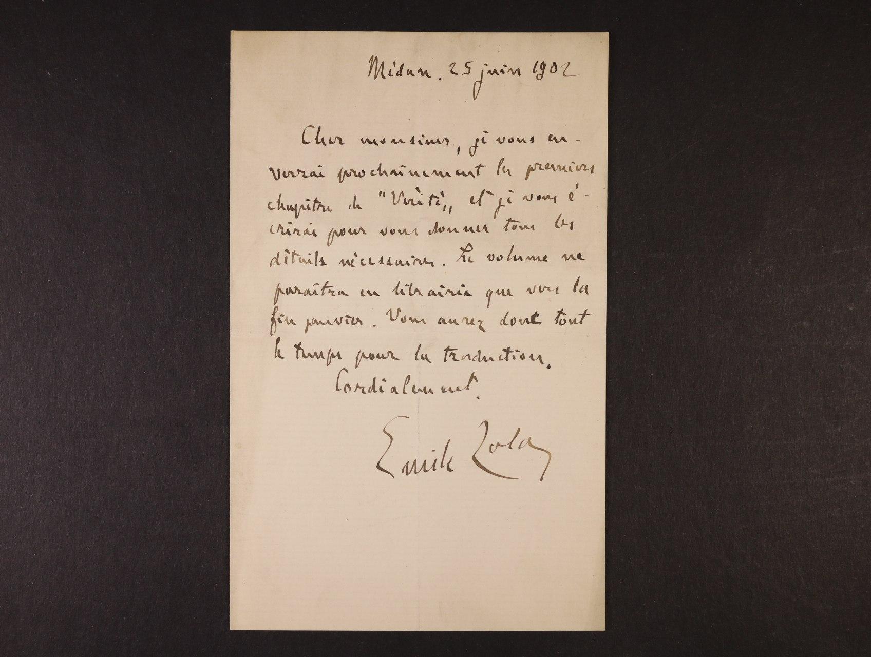 Zola Emil 1840 - 1902, význačný spisovatel, představitel naturalismu - vlastnoručně psaný dopis s podpisem