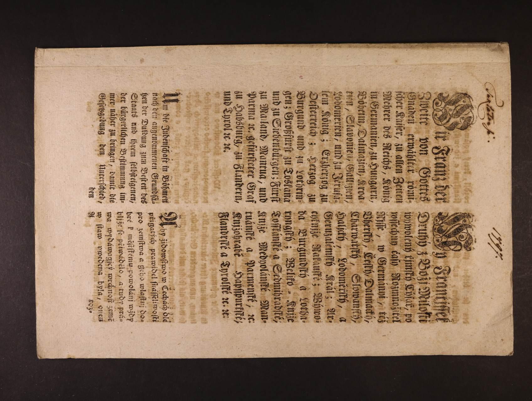 sestava 6 ks různých cirkulářů a vyhlášek z let 1797 - 1812, mj. cirkulář Františka II. 1797 - pravidla spolužití pro židovské obyvatelstvo v zemích R-U, patent Františka I. ohledně daní, placení dluhů ... v německých dědičných zemích