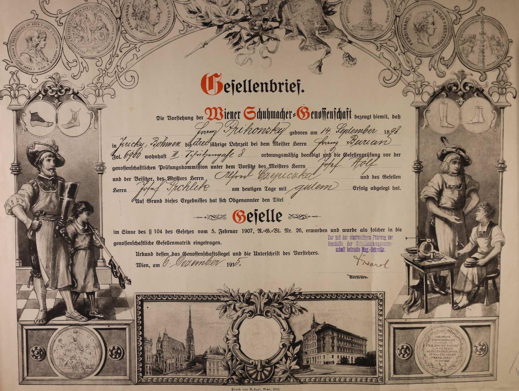 výuční list z r. 1915 s vedutou Vídně