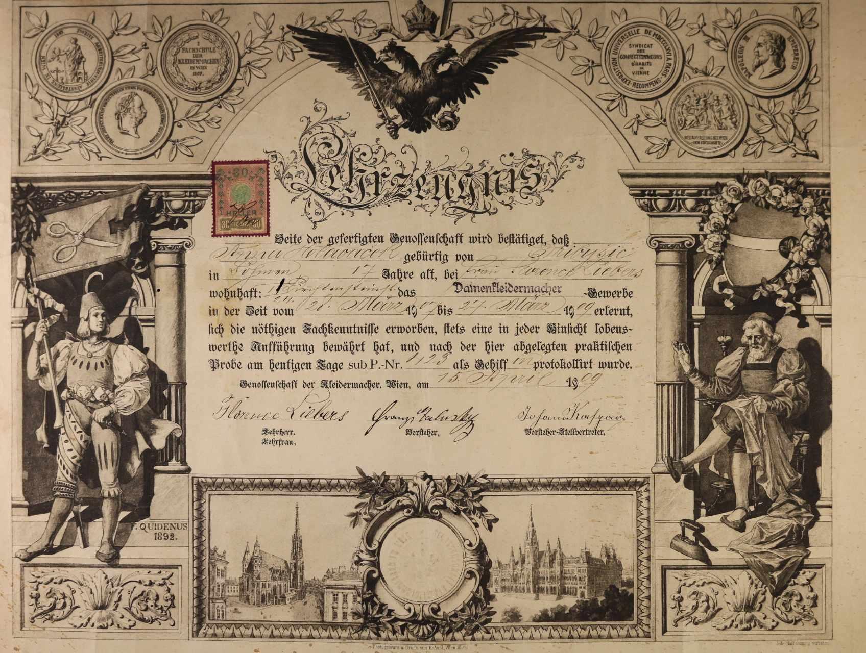 výuční list z r. 1909 s vedutou Vídně
