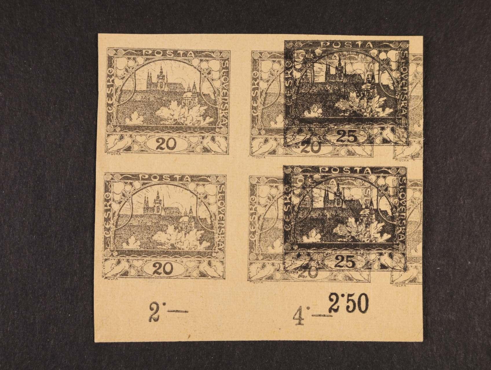 ZT zn. č. 8 ve čtyřbloku s částečným soutiskem zn. č. 10 se spodním okrajem a počitadlem v barvě šedé a černé na nažloutlém papíře