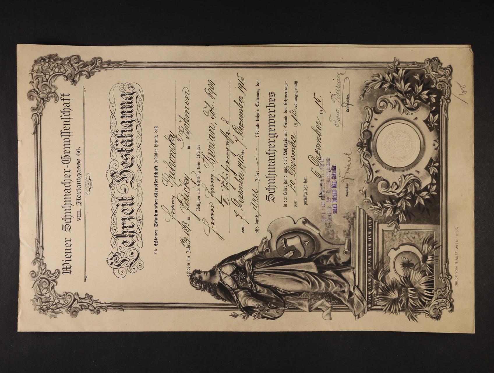 výuční list z r. 1912 s litograf. vedutou Vídně