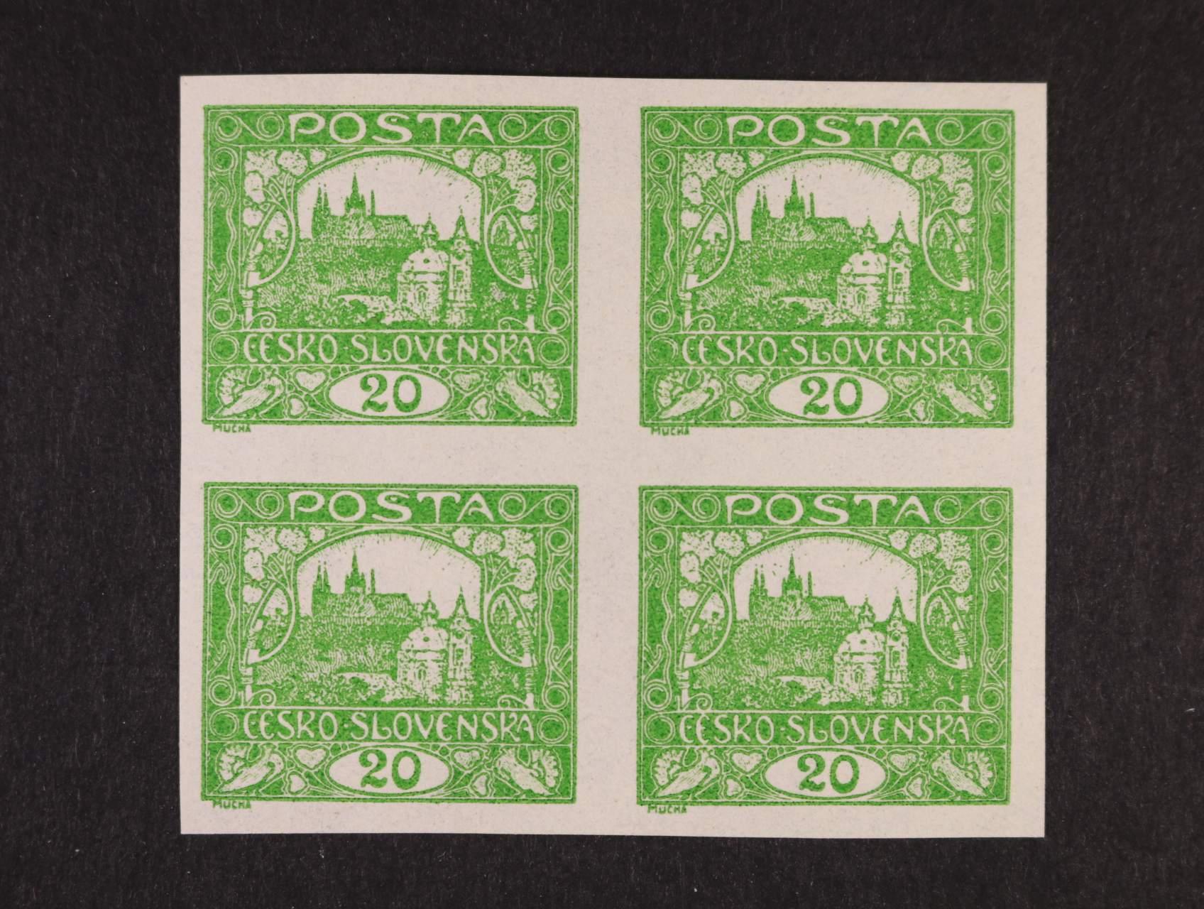 ZT zn. č. 9 20h v barvě zelené ve čtyřbloku
