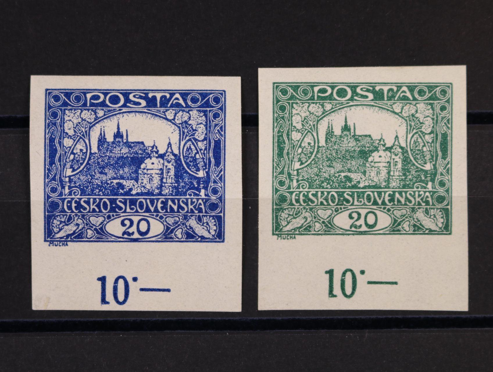 ZT zn. č. 9 v barvě modré a v barvě zelené se spodními okraji a počitadlem 10.-, zk. Gilbert