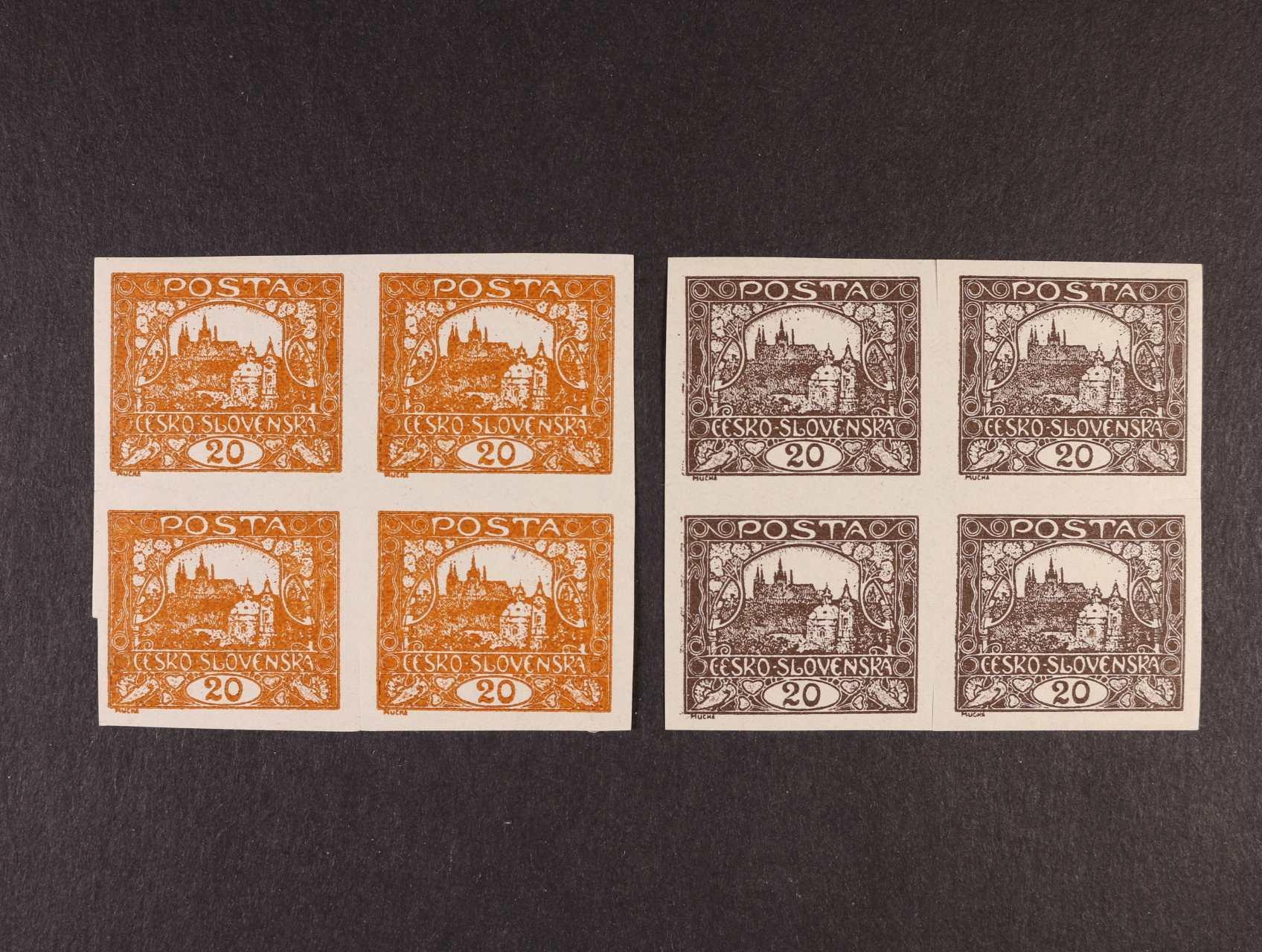 ZT zn. č. 9 v barvě hnědé a oranžové ve čtyřblocích, mezi známkami nastřižené, kat. cena cca 1800 Kč