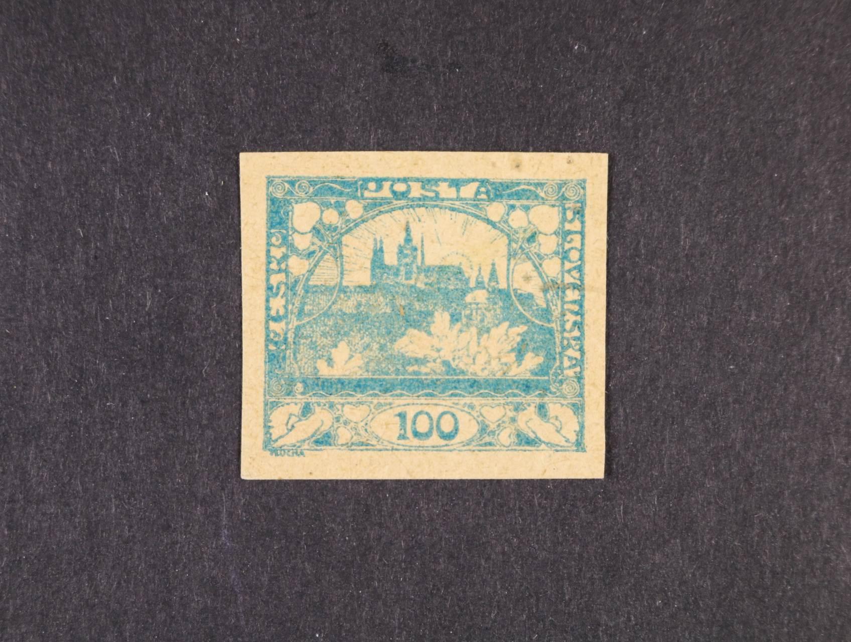 ZT zn. č. 20 v barvě zelené na nažloutlém papíře, zk. Gilbert