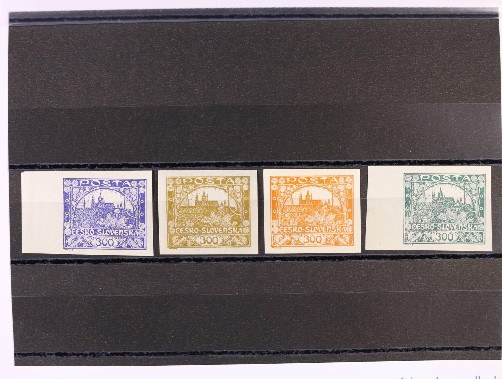 ZT zn. č. 23 v barvě fialové, olivové, oranžové a zelené, 2x s levým okrajem, lehká stopa po nál.