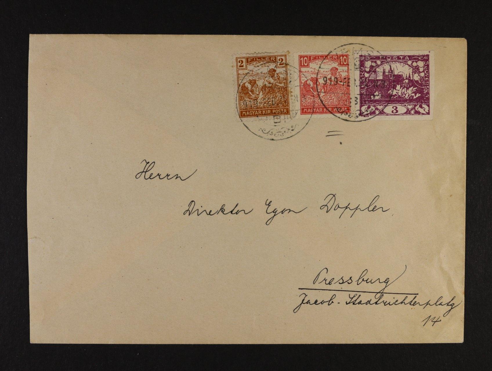 dopis do Bratislavy frank. zn. Mi. č. 186 + 190 + zn. Hradčany č. 2, pod. raz. NEMSÓ  (Nemsová) 24.FEB.1919, použití zn. 10fil. bílé číslo na našem území velmi vzácné