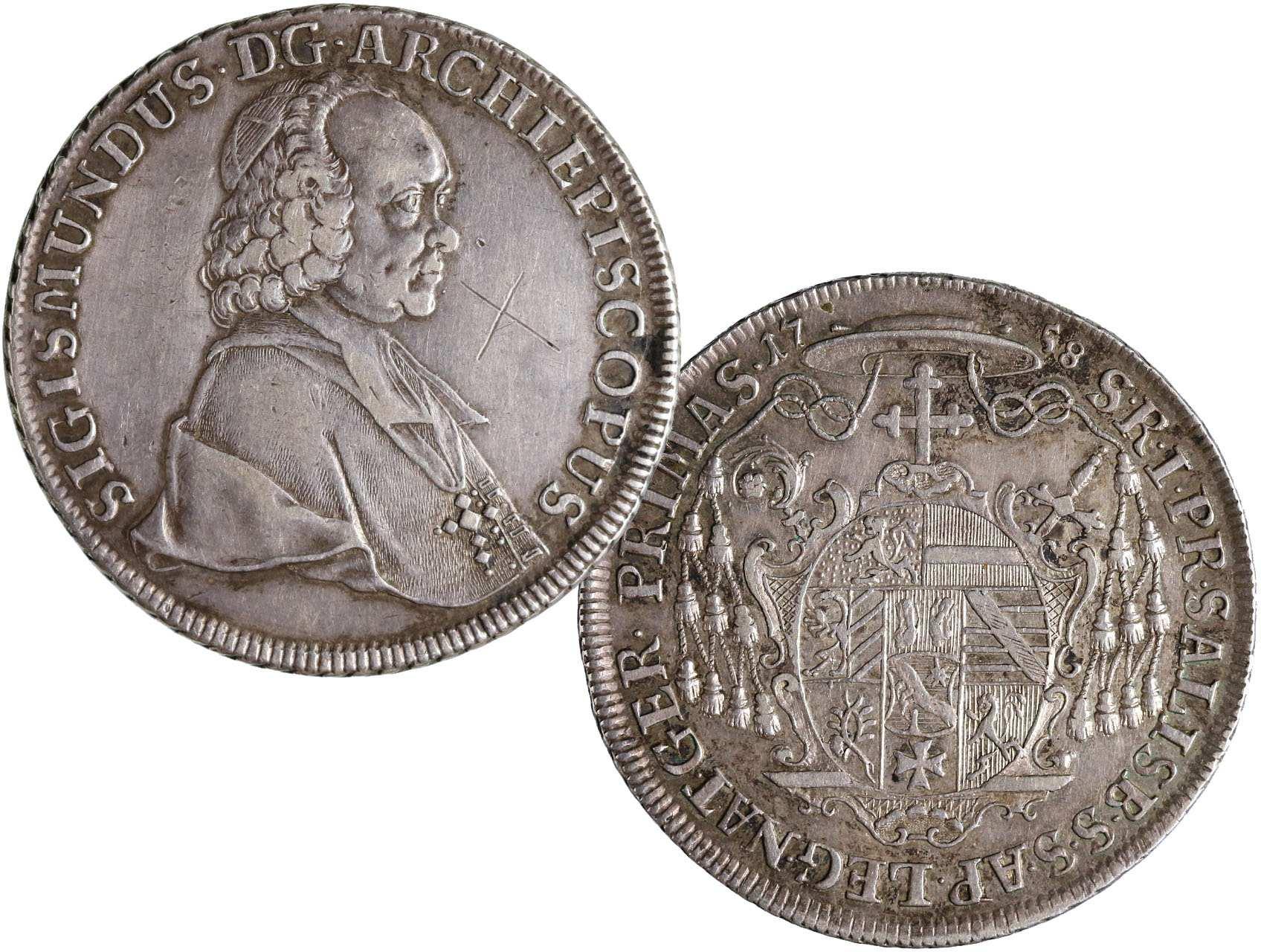 Salzburg - arcibiskupství, Sigismund III. Schrattenbach 1753-1771 - Tolar 1758, KM370, vyrytý křížek v ploše na aversu