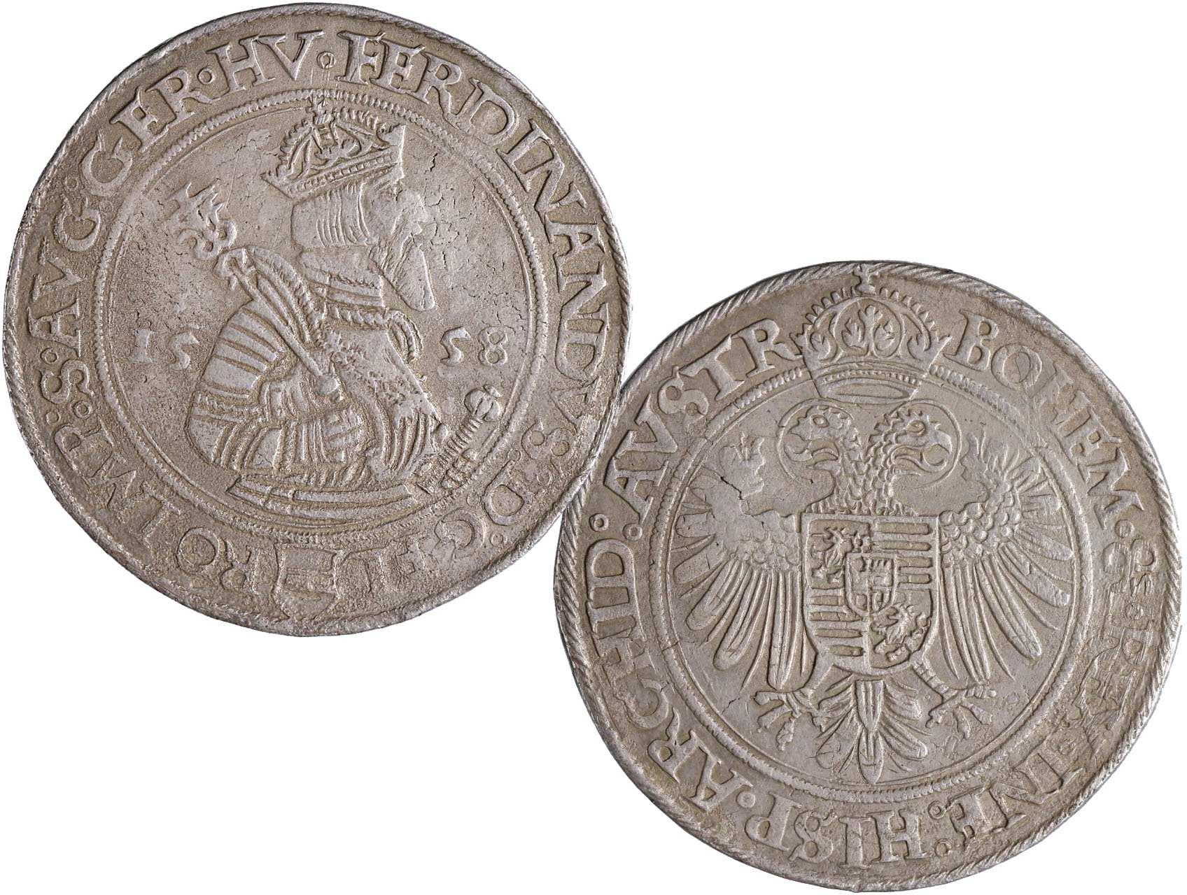 Ferdinand I. 1526-1564 - Tolar 1558, Jáchymov - Puellacher, Hal.115, 28,36g, dr. koroze