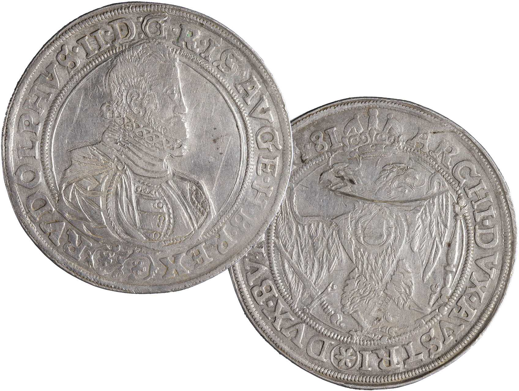 Rudolf II. 1576-1611 - Tolar 1581, České Budějovice - Schönfeld, rýha na R