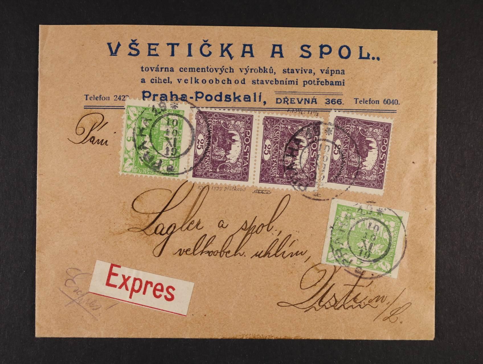 firemní EXPRES-dopis do Ústí n. L. frank. zn. č. 3 + 3 D + 11 F (1x + svislá dvoupáska STp,) TD 2, ZP 56, pod. raz. PRAHA 19 10.10.19, zk. Škaloud
