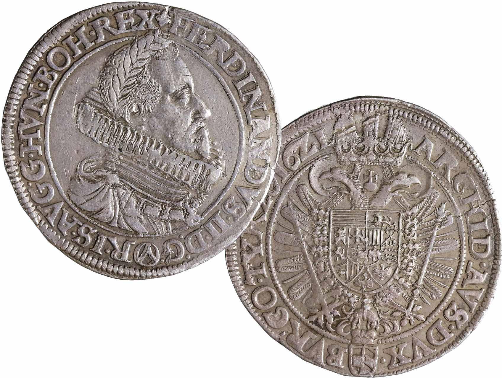 Ferdinand II. 1619-1637 - Tolar 1621 Vídeň, Dav. 3076, naprasklý střižek