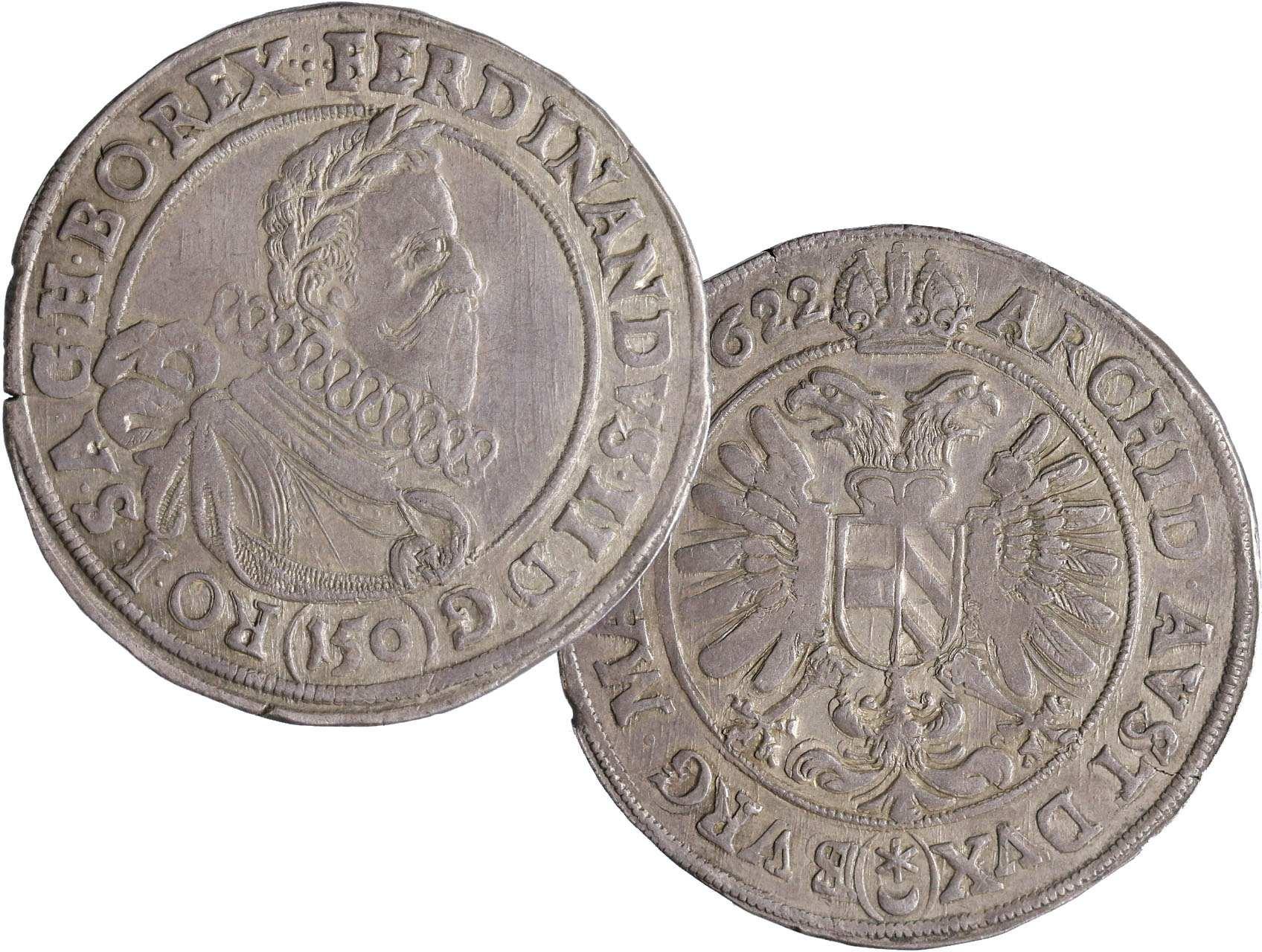 Ferdinand II. 1619-1637, Tolar (150 Krejcar) 1622, mince kiprová, Praha-Hübmer