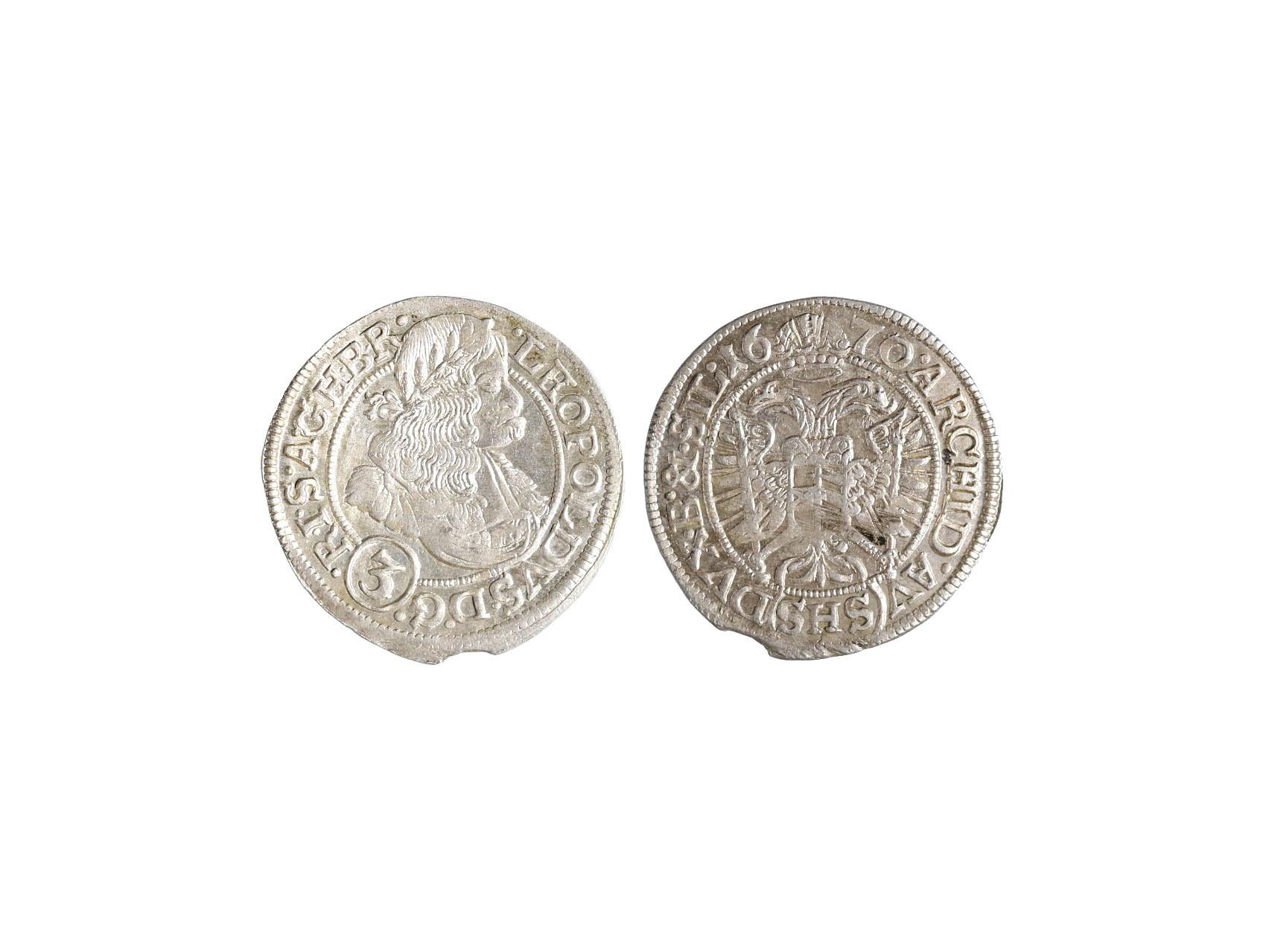 Leopold I. 1657-1705 - 3 Krejcar 1670 SHS (Vratislav), N15, prohlý