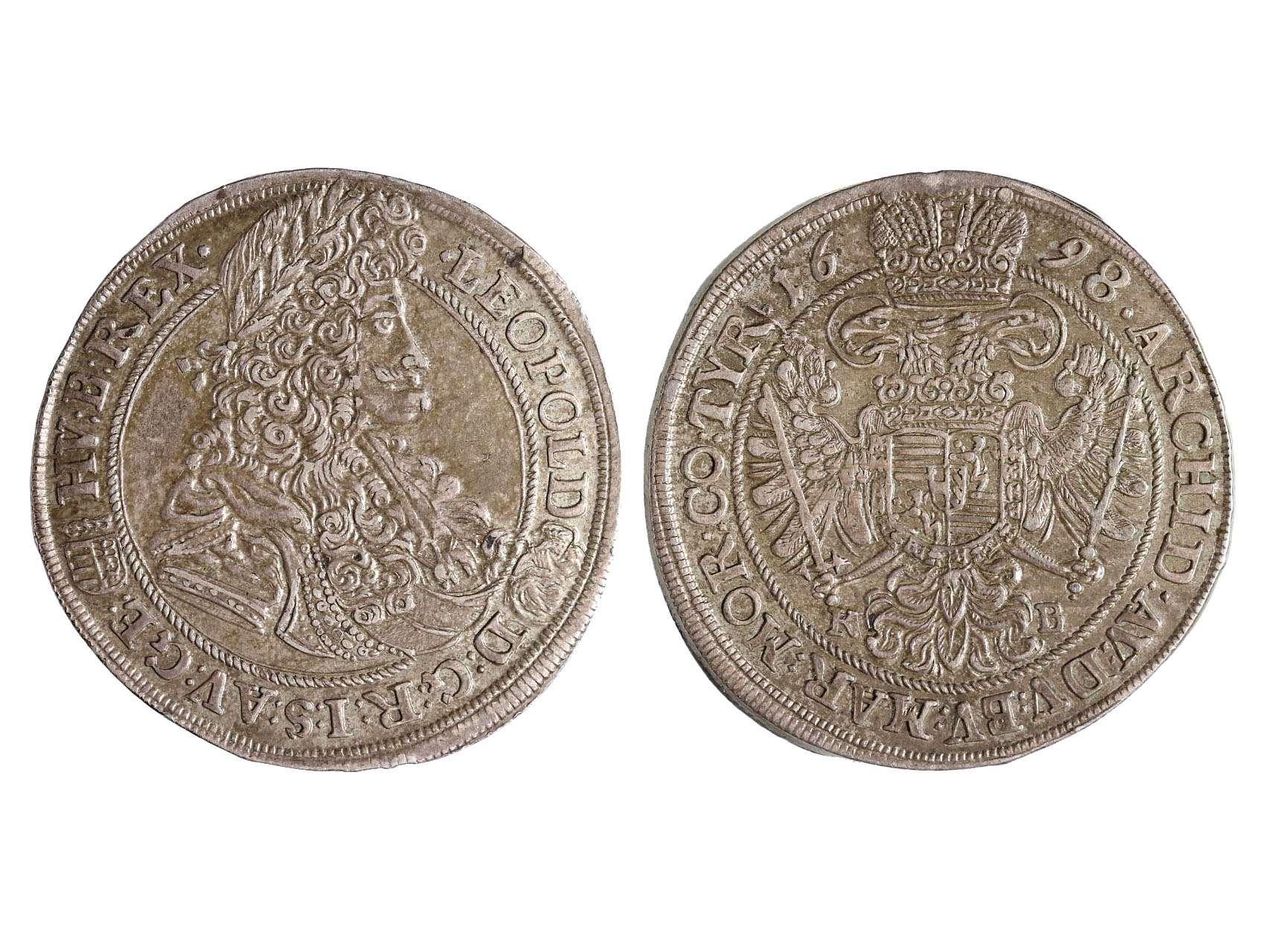 Leopold I. 1657-1711 - 1/2 Tolar 1698 KB Kremnice, patina