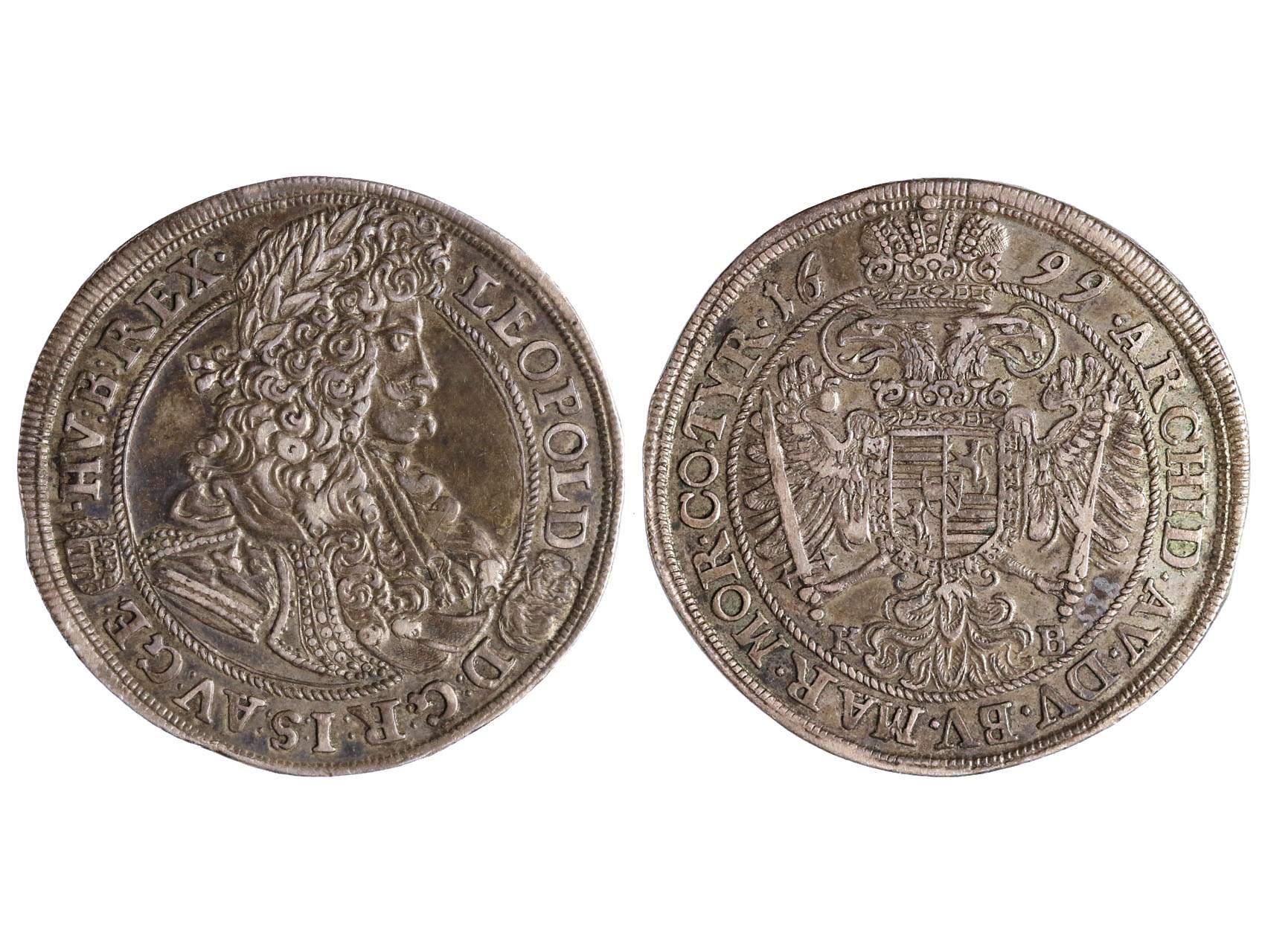 Leopold I. 1657-1711 - 1/2 Tolar 1699 KB Kremnice, patina