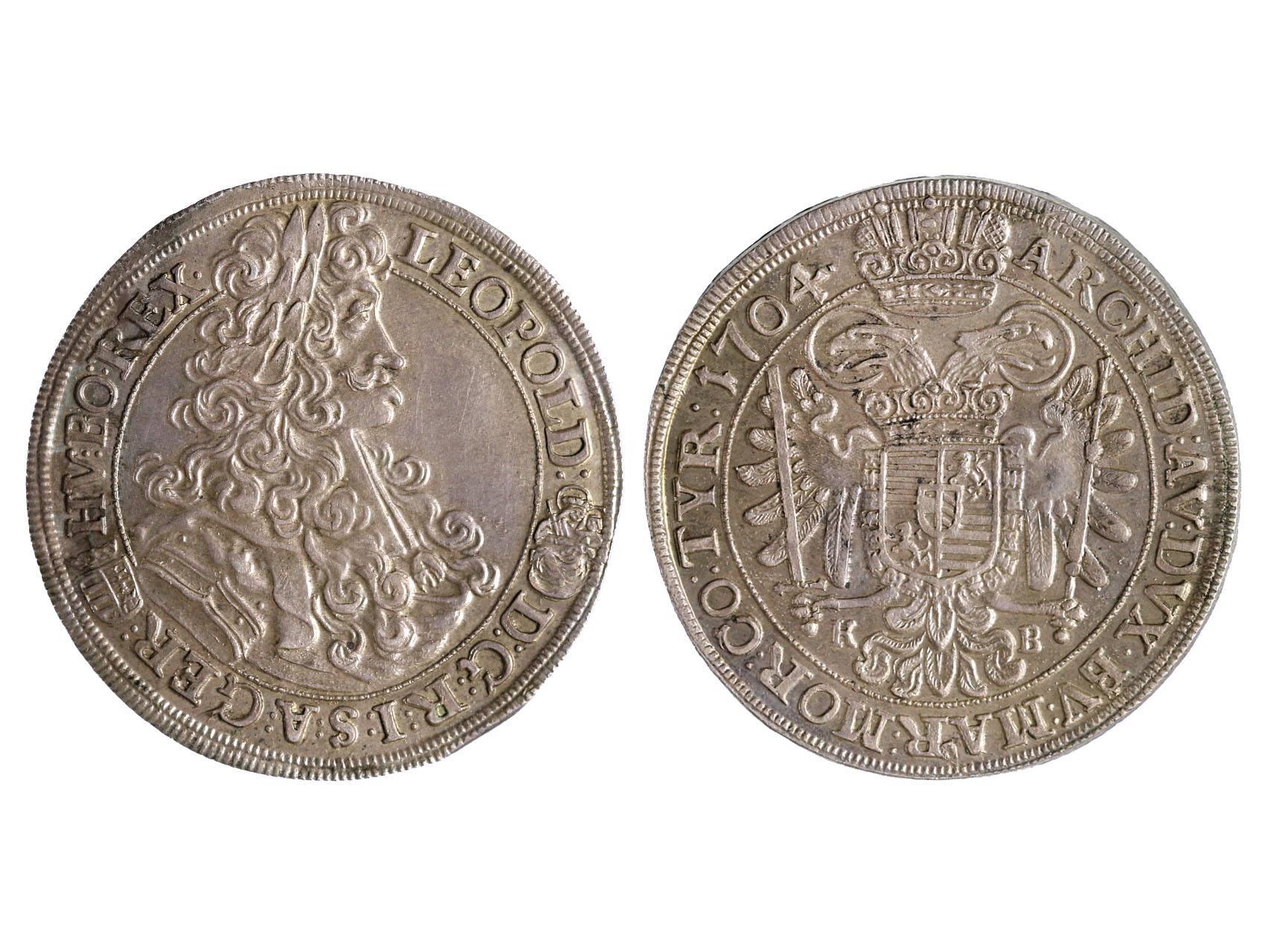 Leopold I. 1657-1711 - 1/2 Tolar 1704 KB Kremnice, patina