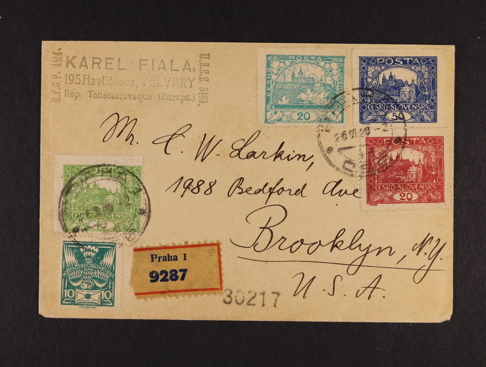R-dopis do USA frank. zn. č. 6 A, 8 A, 9 A, + zn. č. 16 + OR 10h zelená, pod. raz. PRAHA 1 26.4.20, přích. raz.