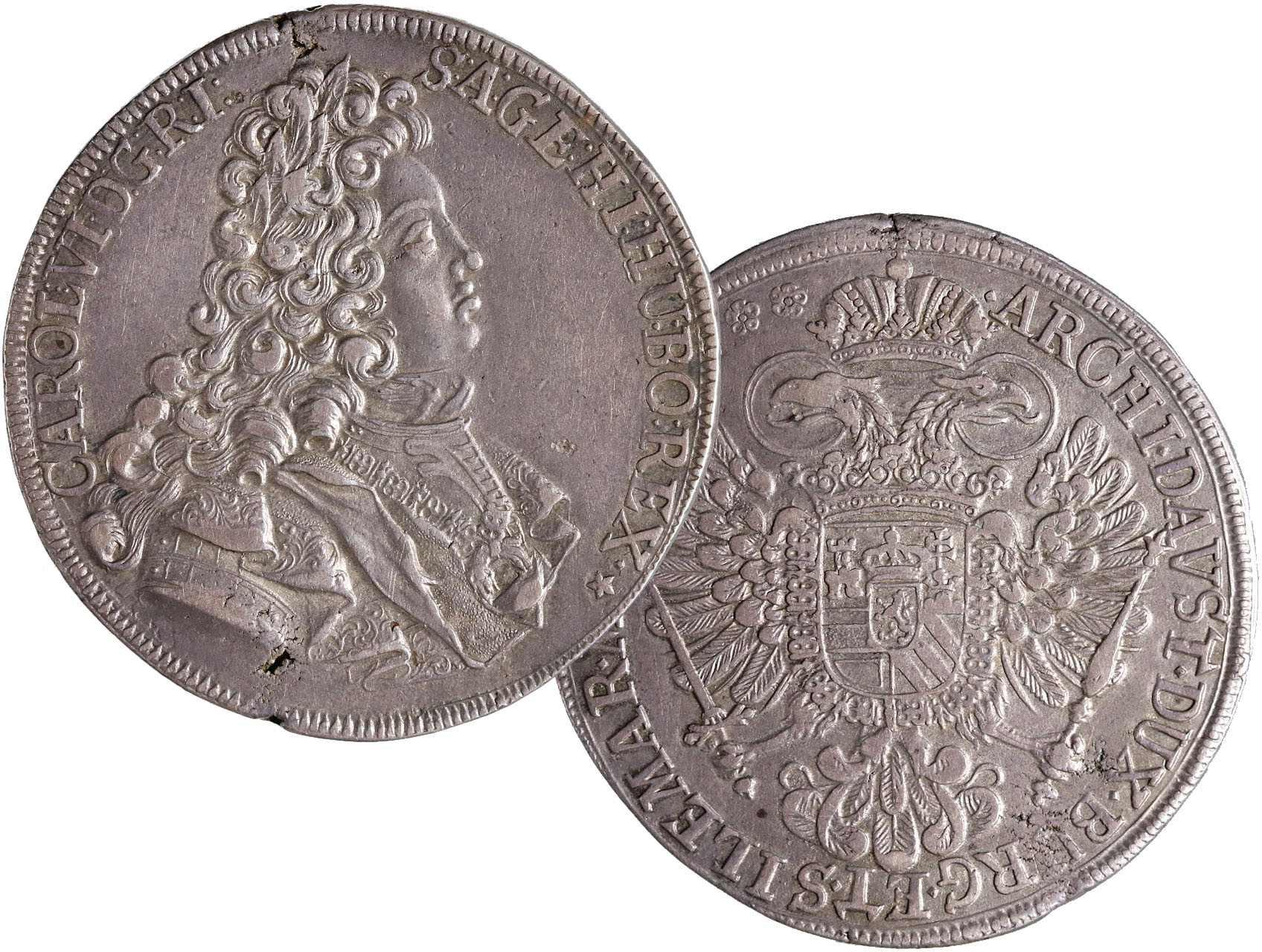 Karel VI. 1711-1740 - Tolar 1717 Praha, Josef Loth, vada střižku