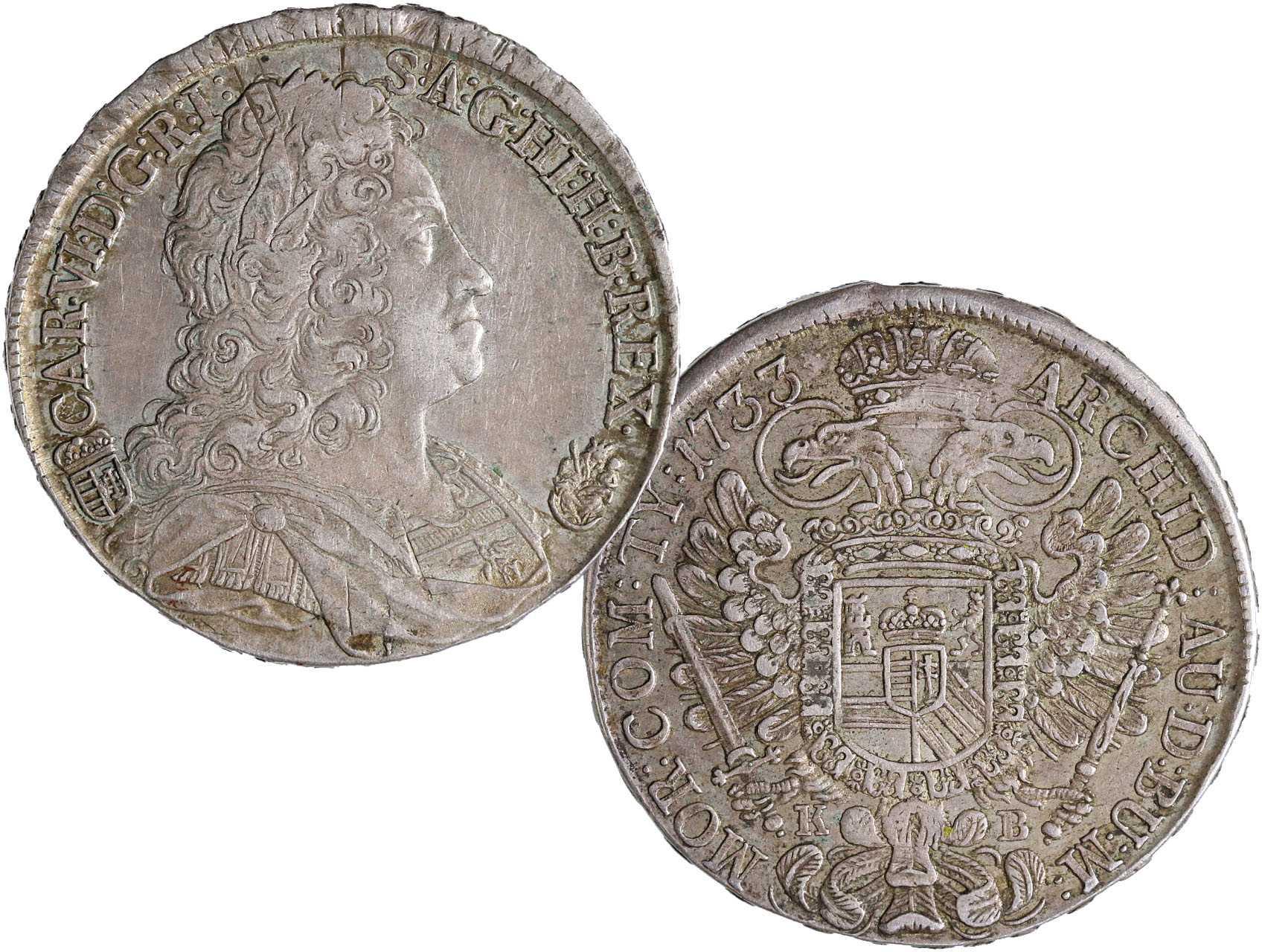 Karel VI. 1711-1740 - Tolar 1733 Kremnice, Dav. 1060, dr. škr.