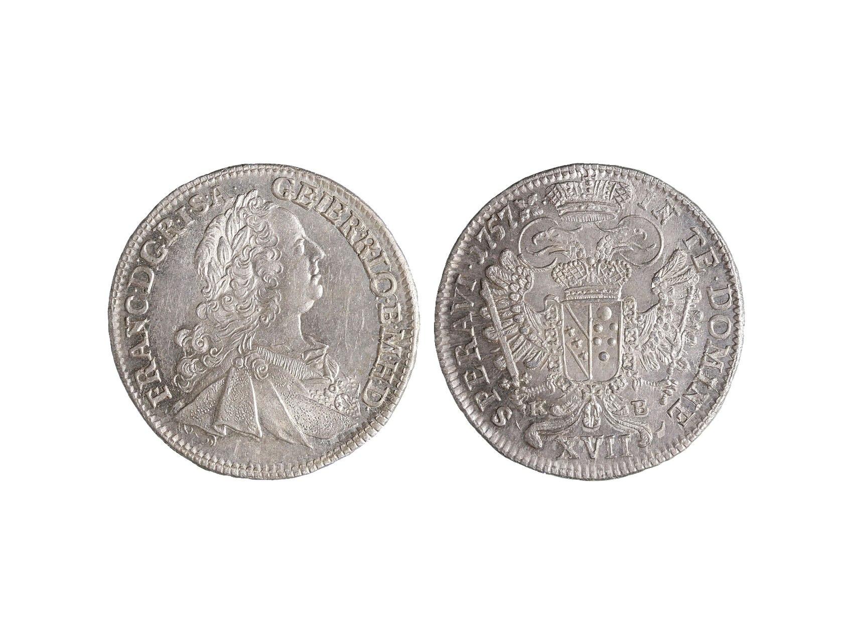 František Lotrinský 1745-1765 - XVII Krejcar 1757 K-B, ražební lesk