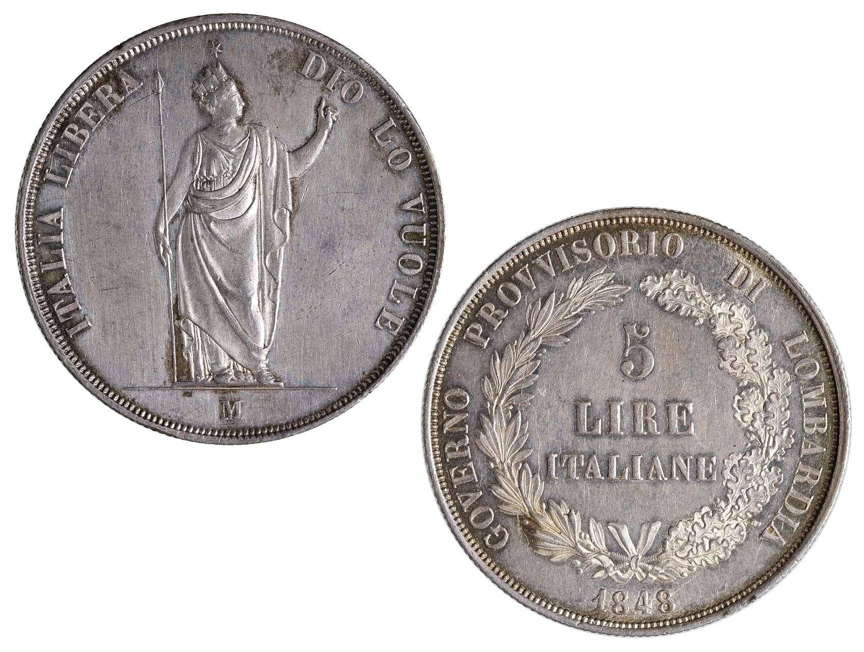 Ferdinand V 1835-1848 - 5 Lire 1848 M, N39a