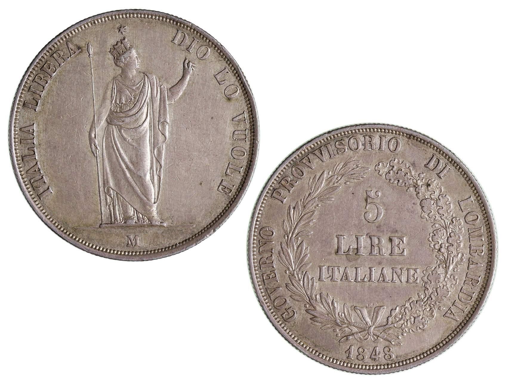 Ferdinand V 1835-1848 - 5 Lire 1848 M varianta - delší konce ratolestí nad letopočtem, N39b