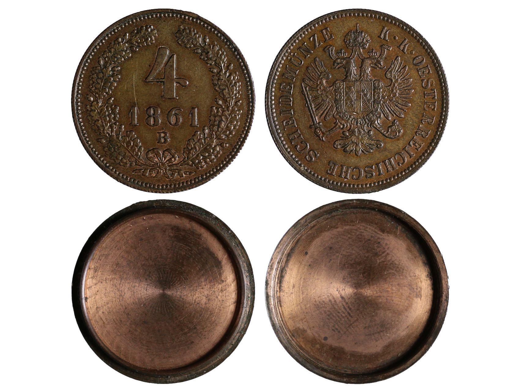 František Josef I. 1848-1916 - 4 Kreuzer 1861 B otvírací, N14