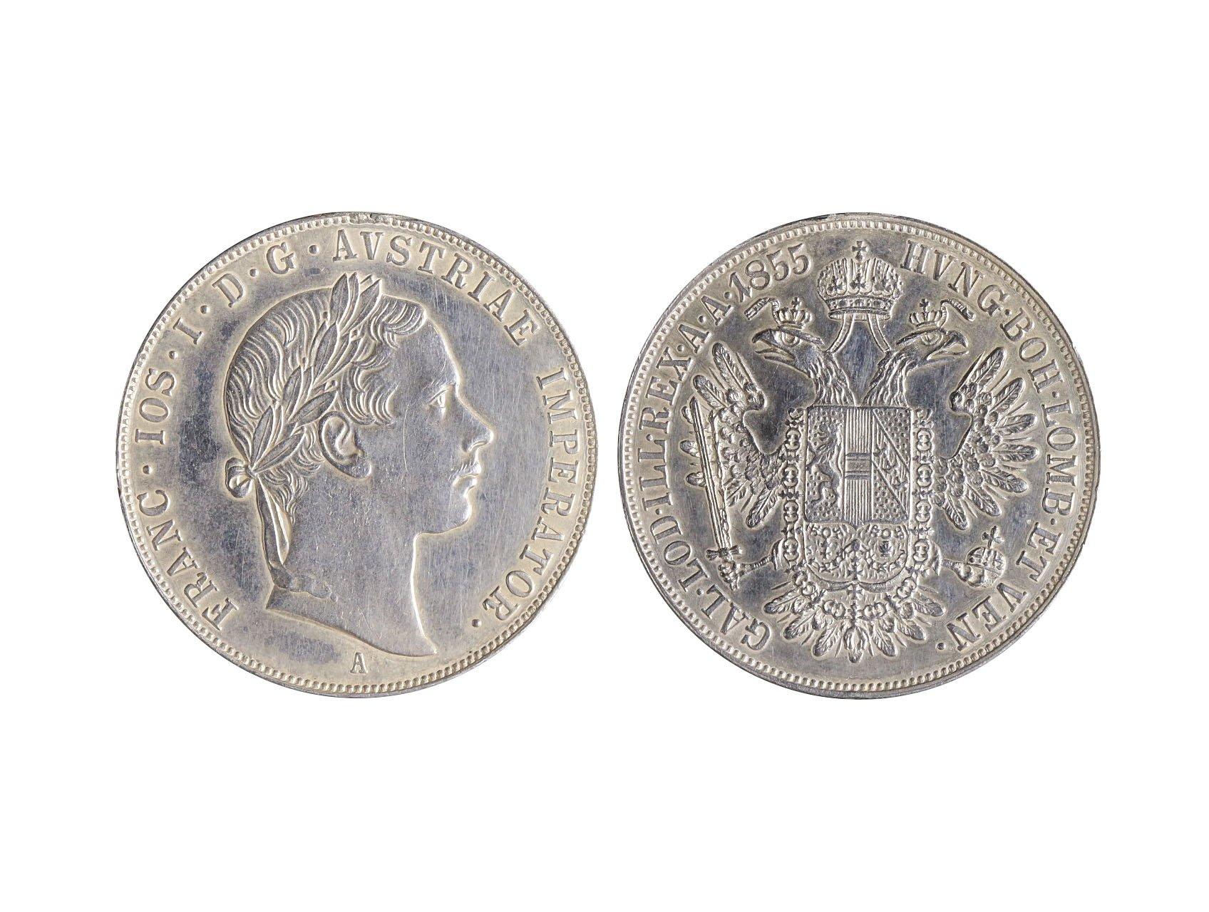 František Josef I. 1848-1916 - Konvenční 1/2 Tolar 1855 A, naprosto bezvadná kvalita