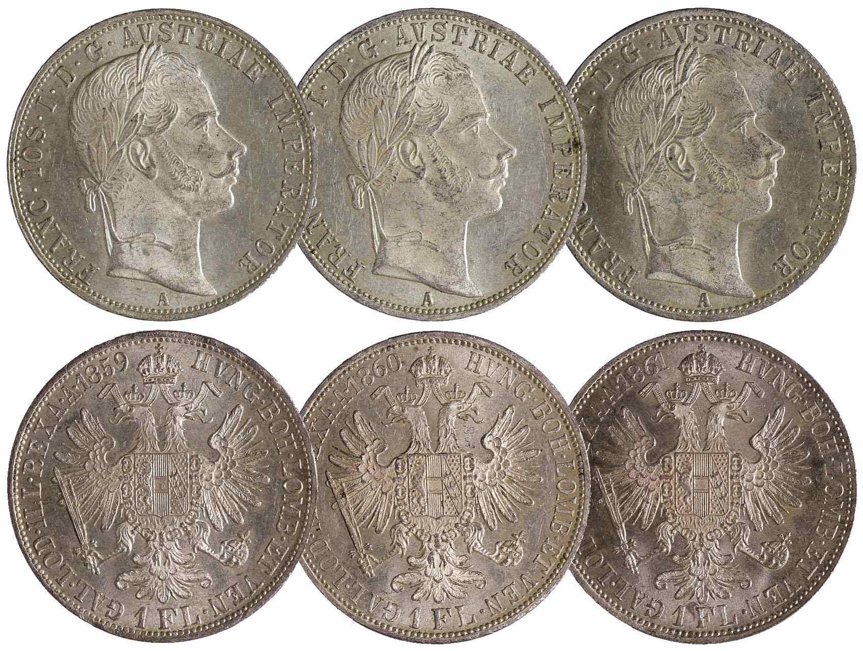 František Josef I. 1848-1916 - 1 Zlatník 1859 A, 1860 A a 1861 A, celkem 3 ks., N39