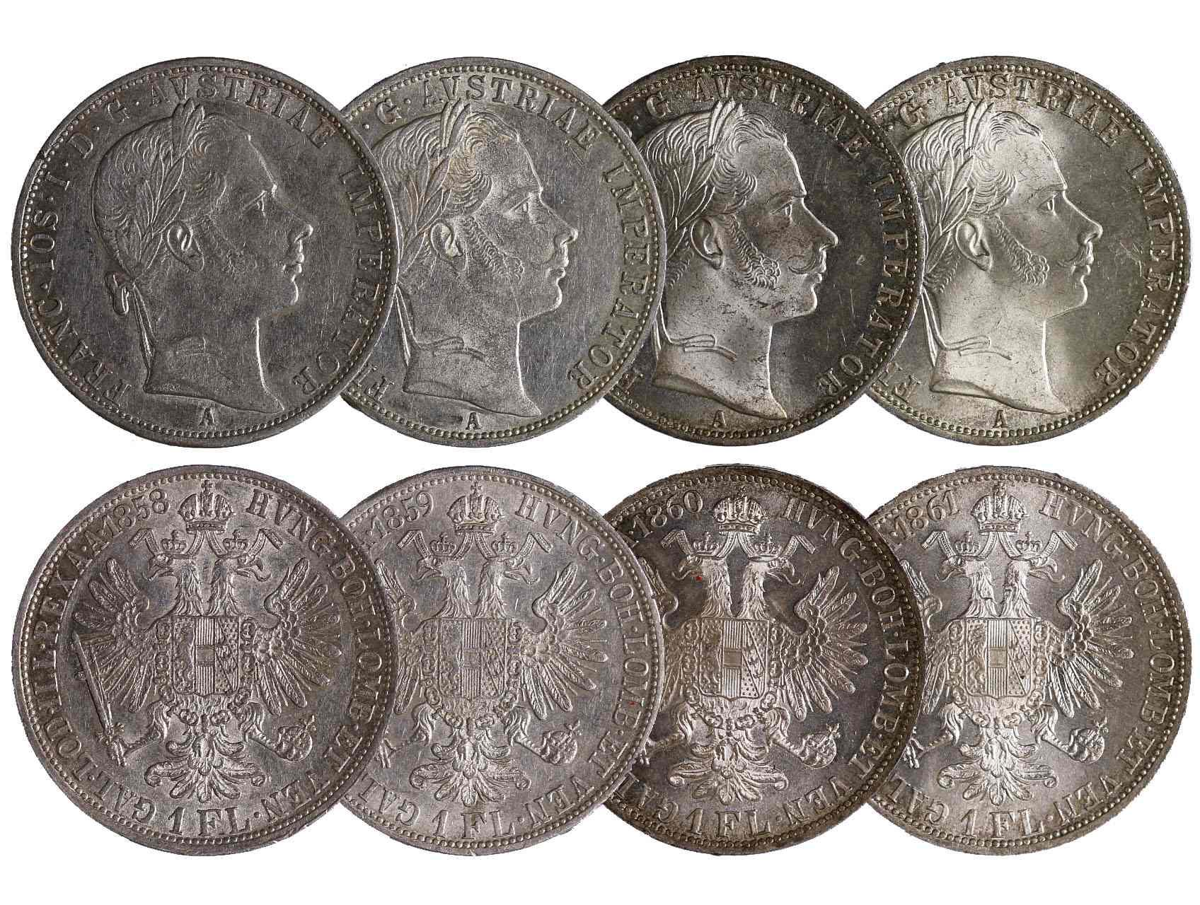 František Josef I. 1848-1916 - 1 Zlatník 1858 A, 1859 A, 1860 A a 1861 A, celkem 4 ks., N39