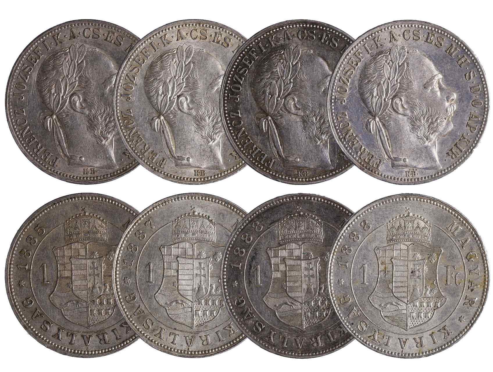 František Josef I. 1848-1916 - 1 Forint 1885 KB, 1887 KB a 2x 1888 KB, celkem 4 ks. N46