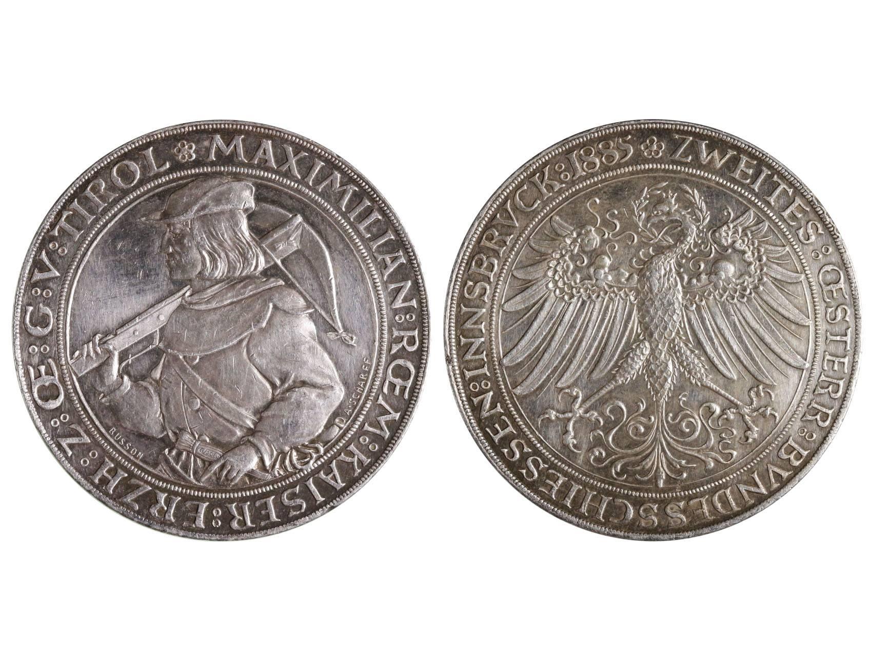 František Josef I. 1848-1916 - 2 Zlatník 1885  cena II.rakouských střeleckých závodů v Insbrucku, Ag, N154