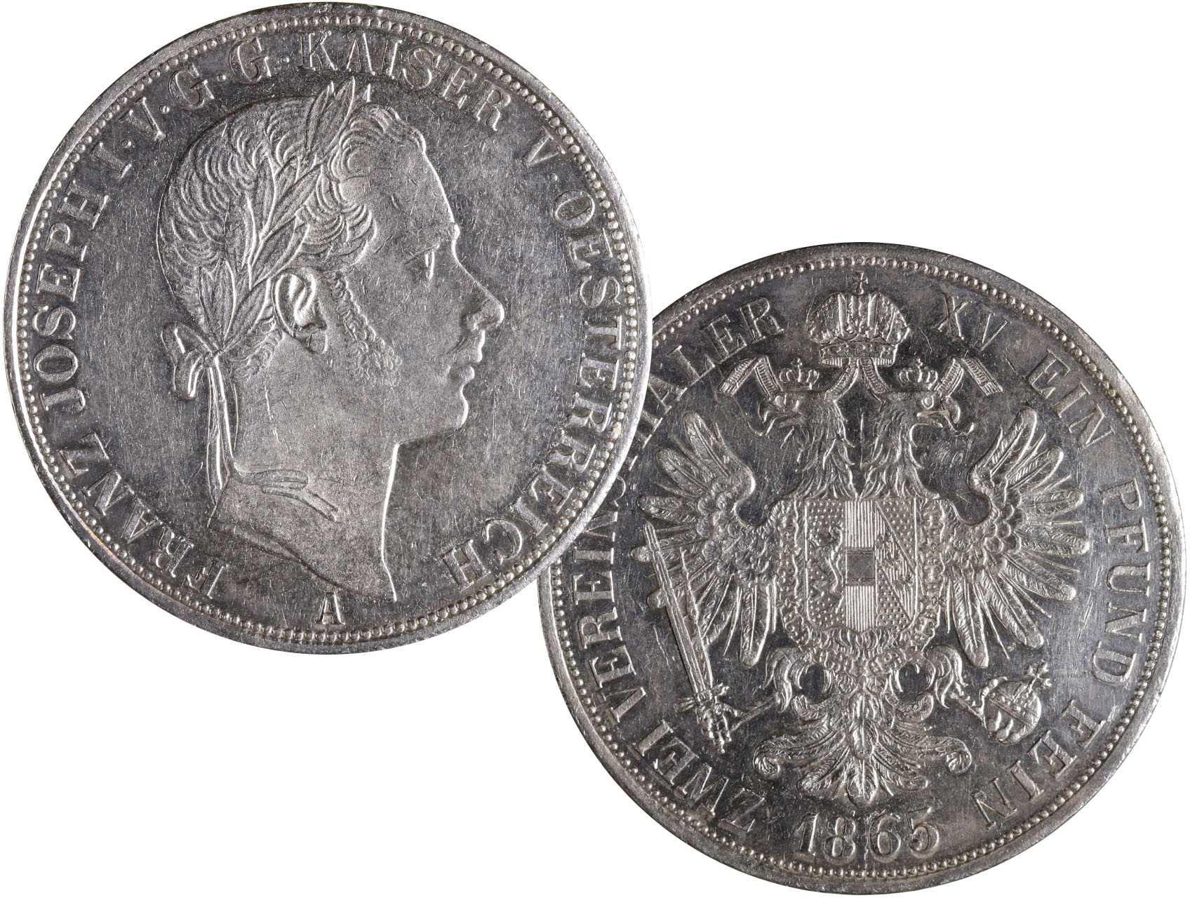 František Josef I. 1848-1916 - Spolkový dvoutolar 1865 A, raženo 7425 ks. N56