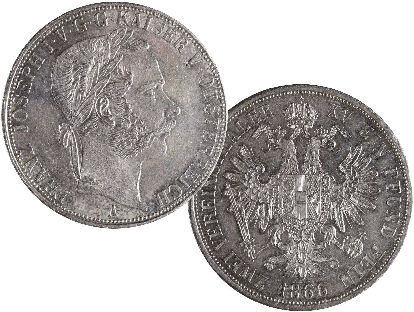 František Josef I. 1848-1916 - Spolkový dvoutolar 1866 A, raženo 10395 ks. N57