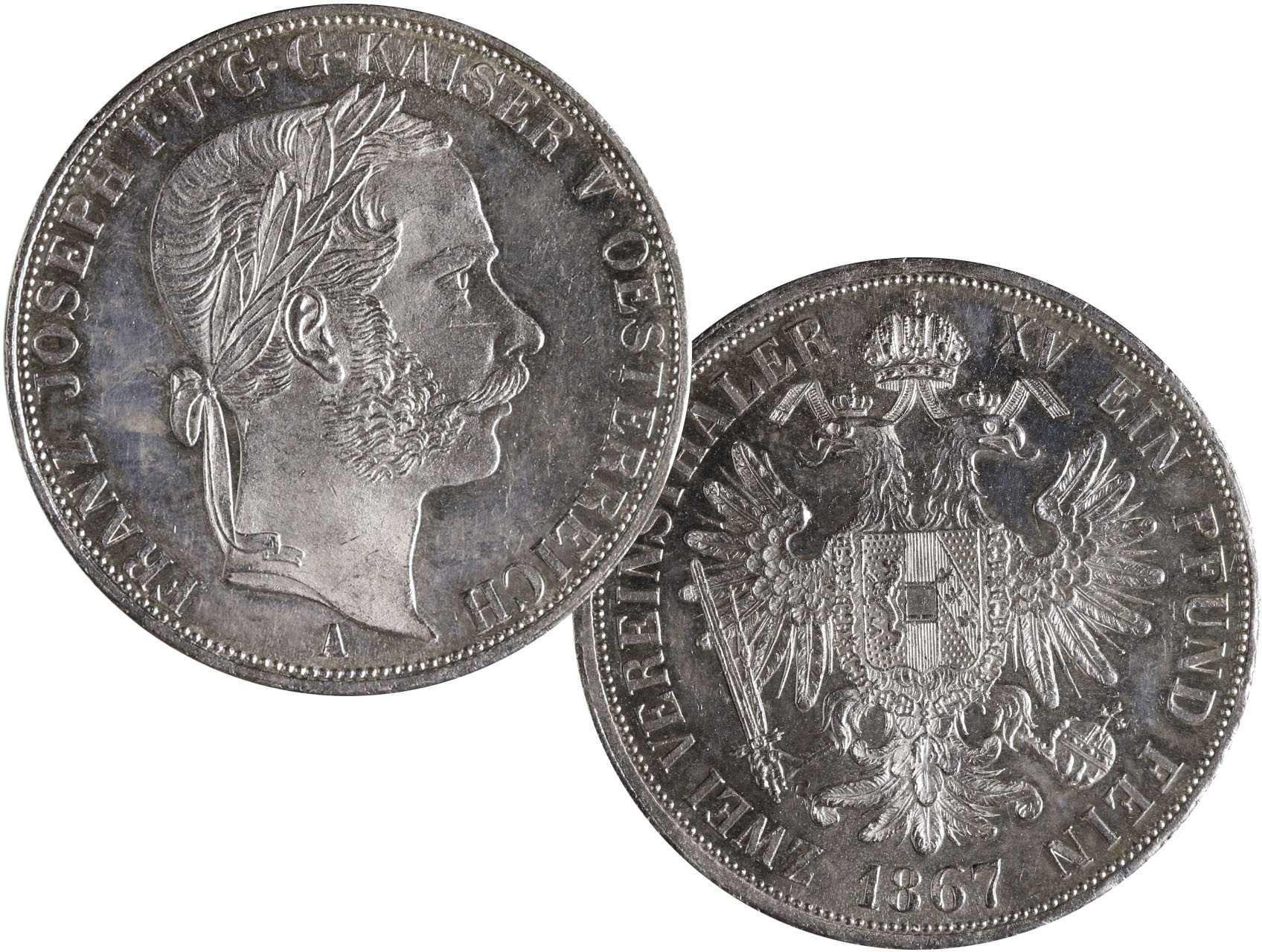František Josef I. 1848-1916 - Spolkový dvoutolar 1867 A, raženo 8300 ks. N57