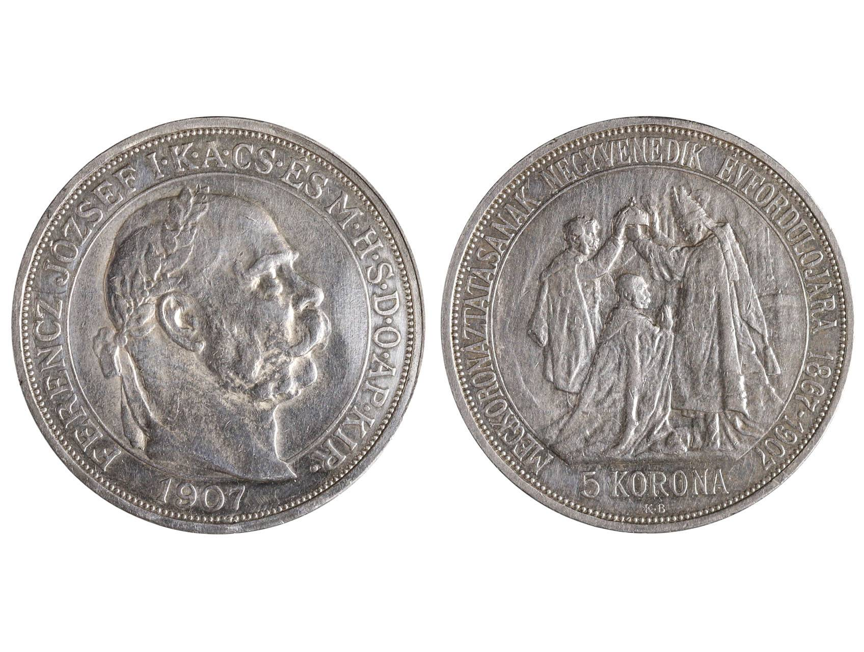František Josef I. 1848-1916 - 5 Koruna 1907 KB, 40. výročí korunovace F.J.I., N158