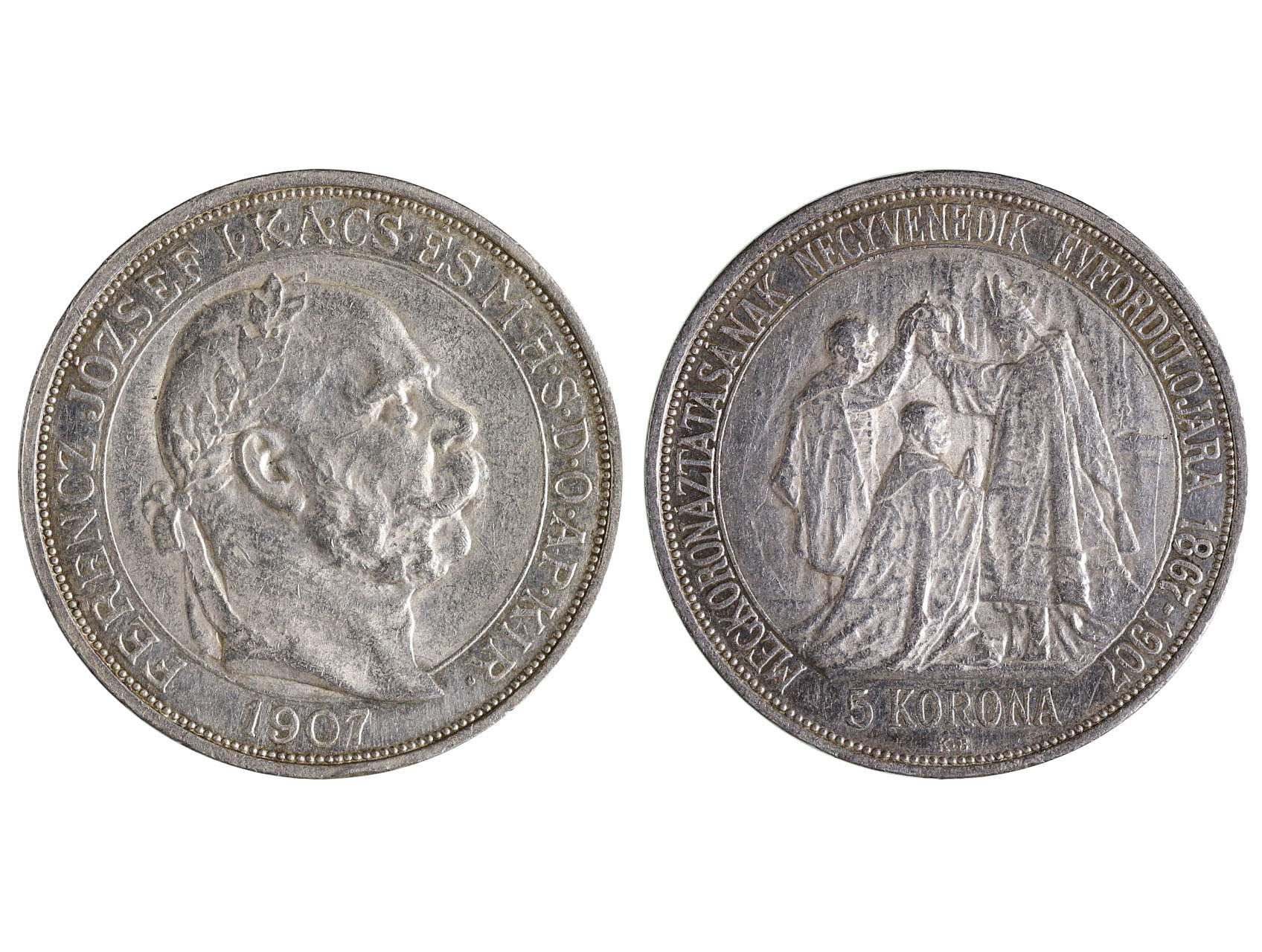 František Josef I. 1848-1916 - 5 Koruna 1907 KB, 40. výročí korunovace F.J.I. za uherského krále v  Budapešti, N158, dr. hr.